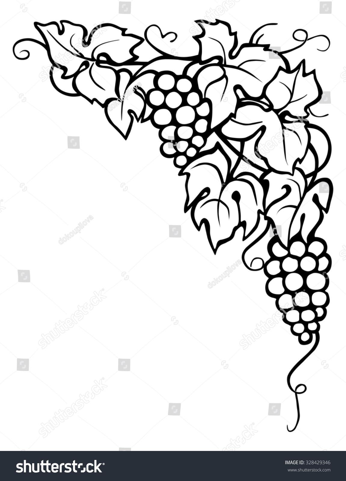 Drawing Vine Leaves Corner Stock Illustration 328429346 - Shutterstock for Drawing Grape Vines  289ifm