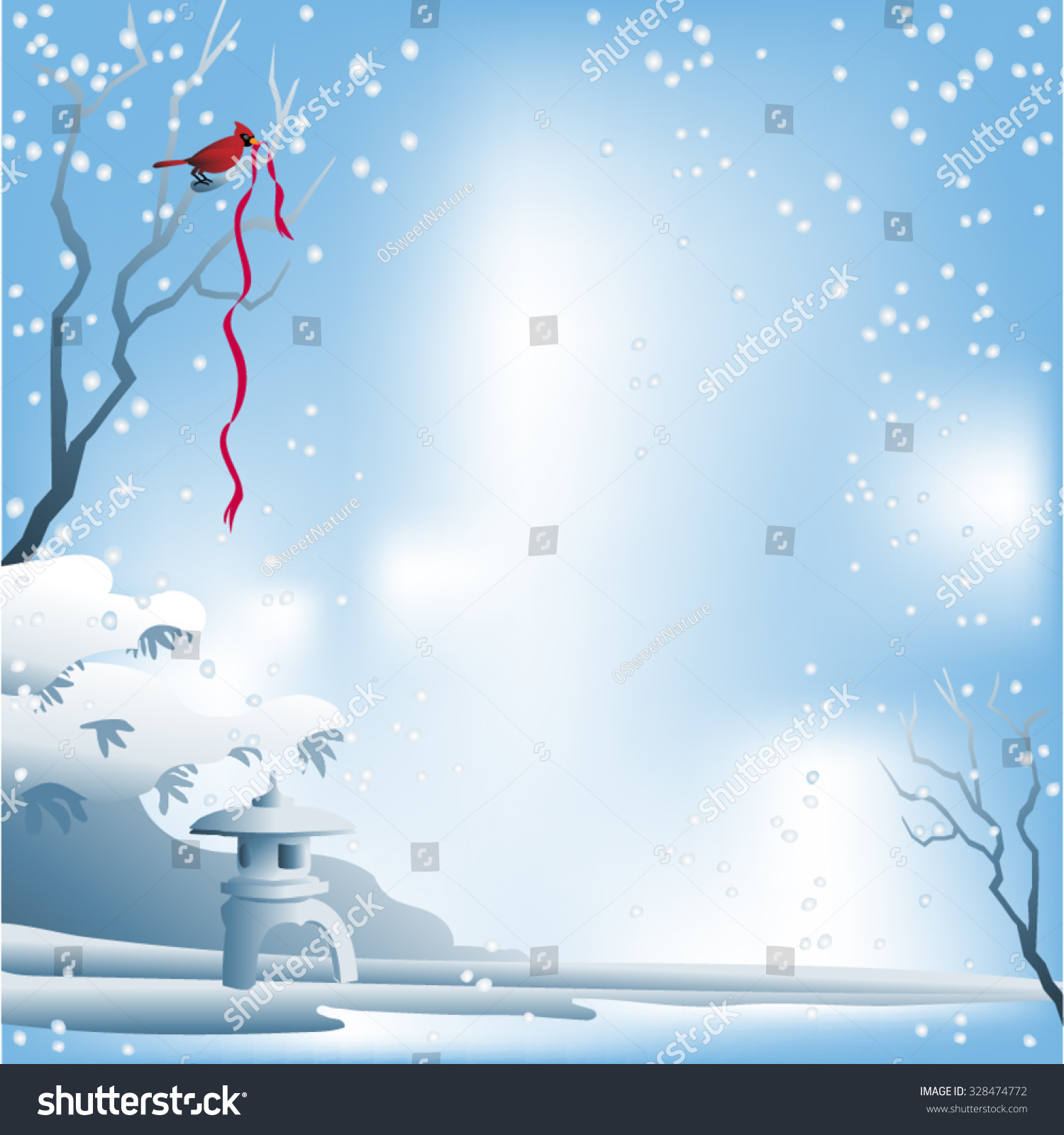 ... red bird and red xmas ribbon. Snow on branches and snowflakes falling