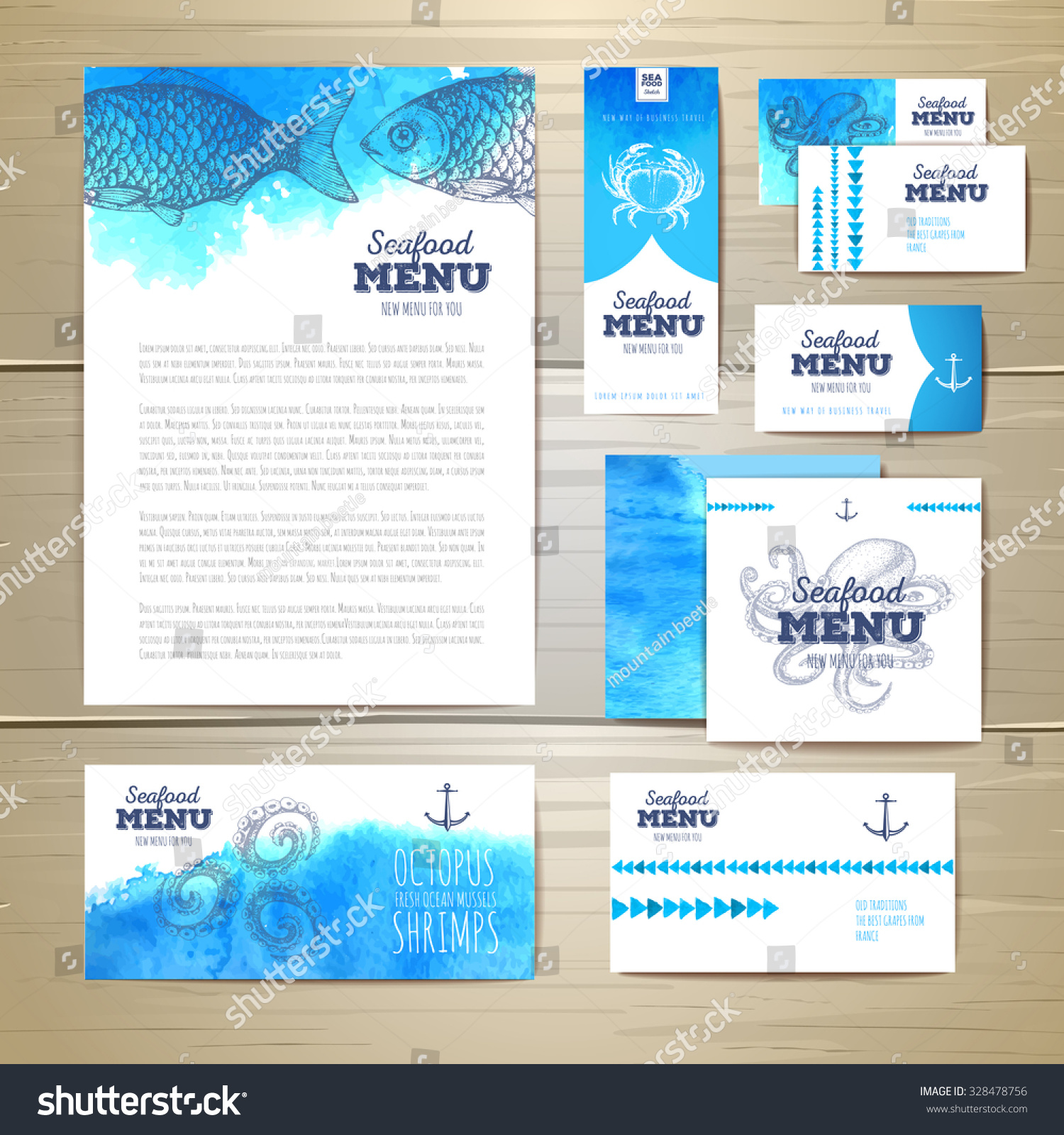 Chalk Paint Per Porte watercolor seafood menu design corporate identity stock