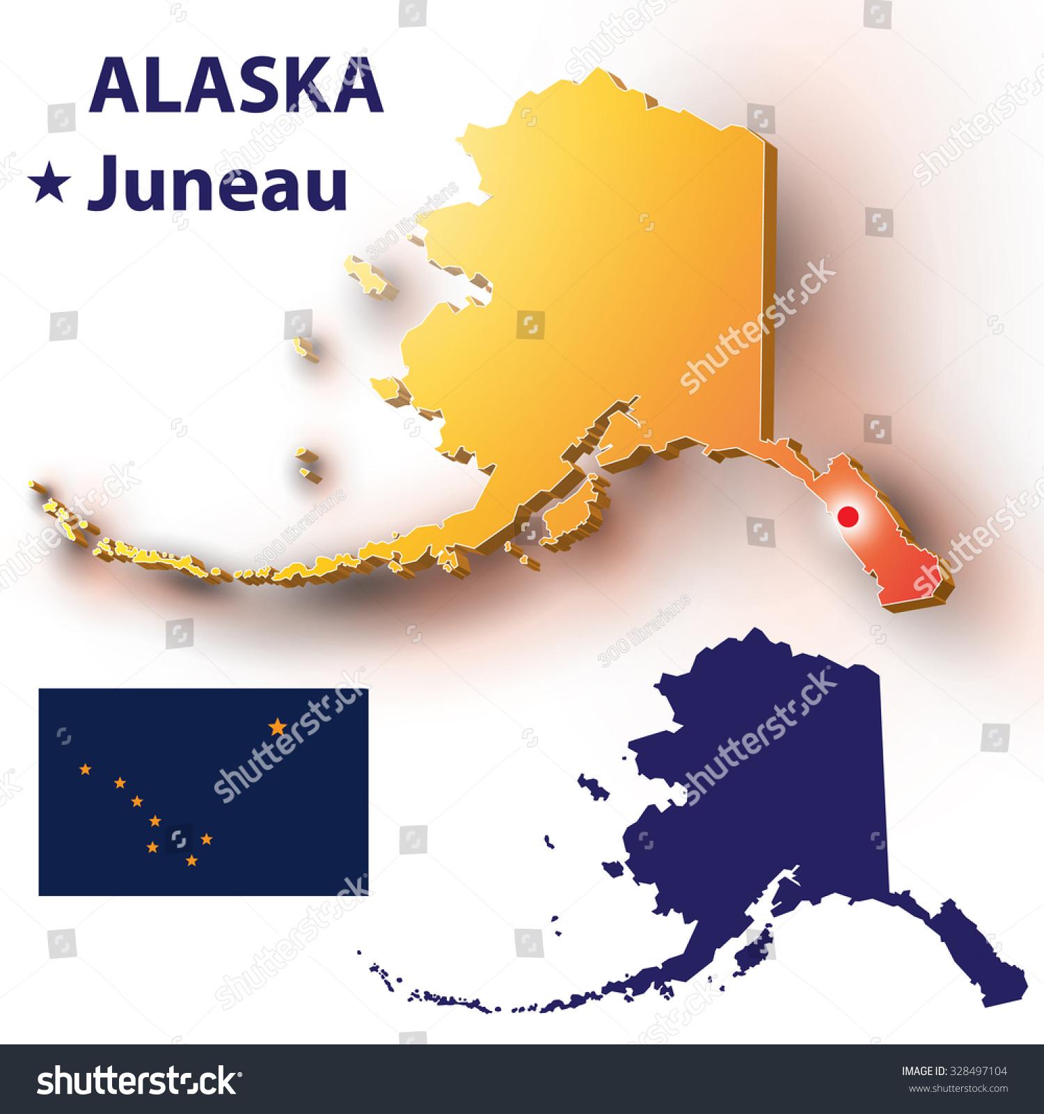 Us State Map Alaska metropolis Juneau Stock Vector 328497104