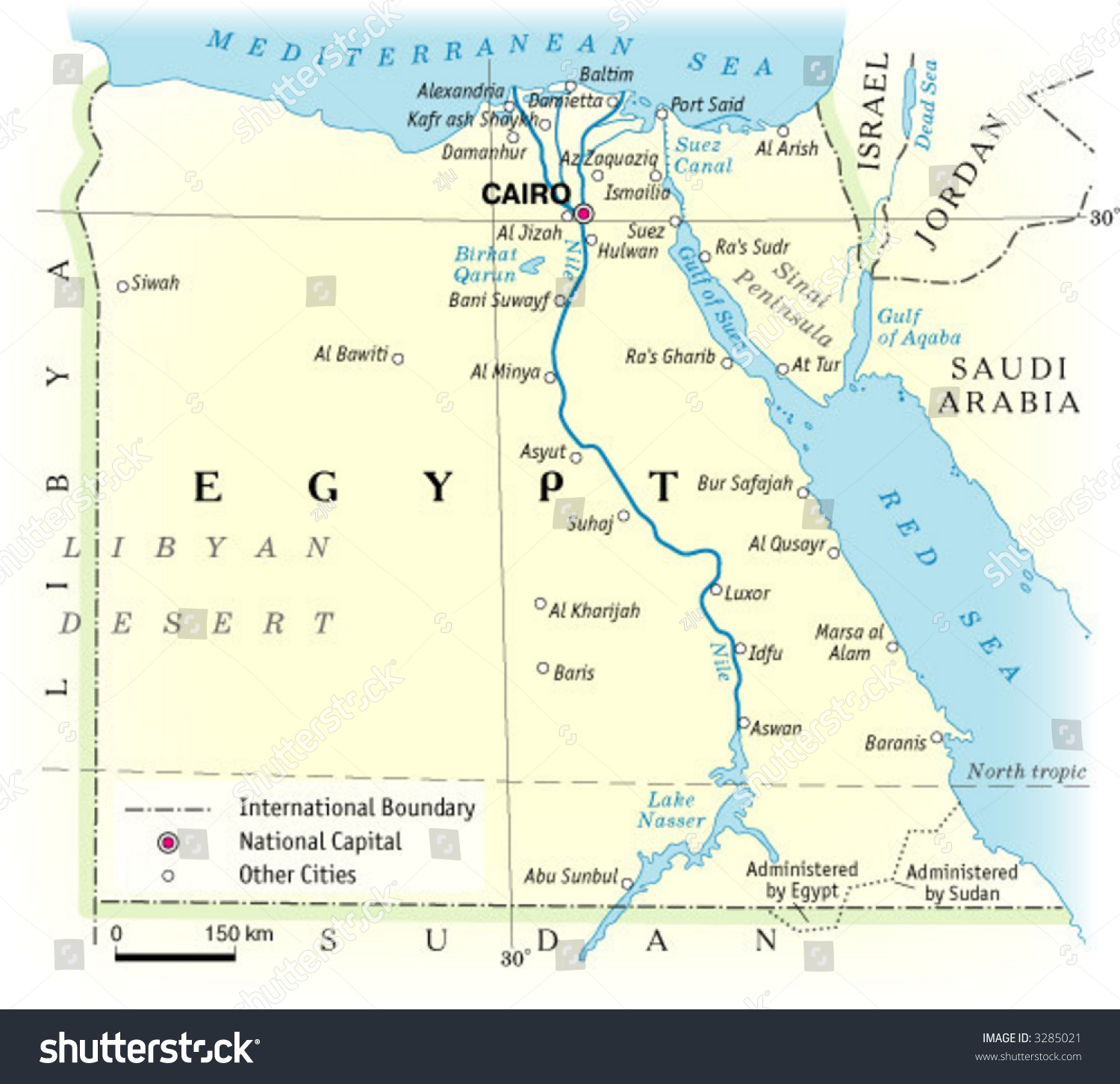Physical Map Egypt Stock Vector Shutterstock - Map of egypt picture