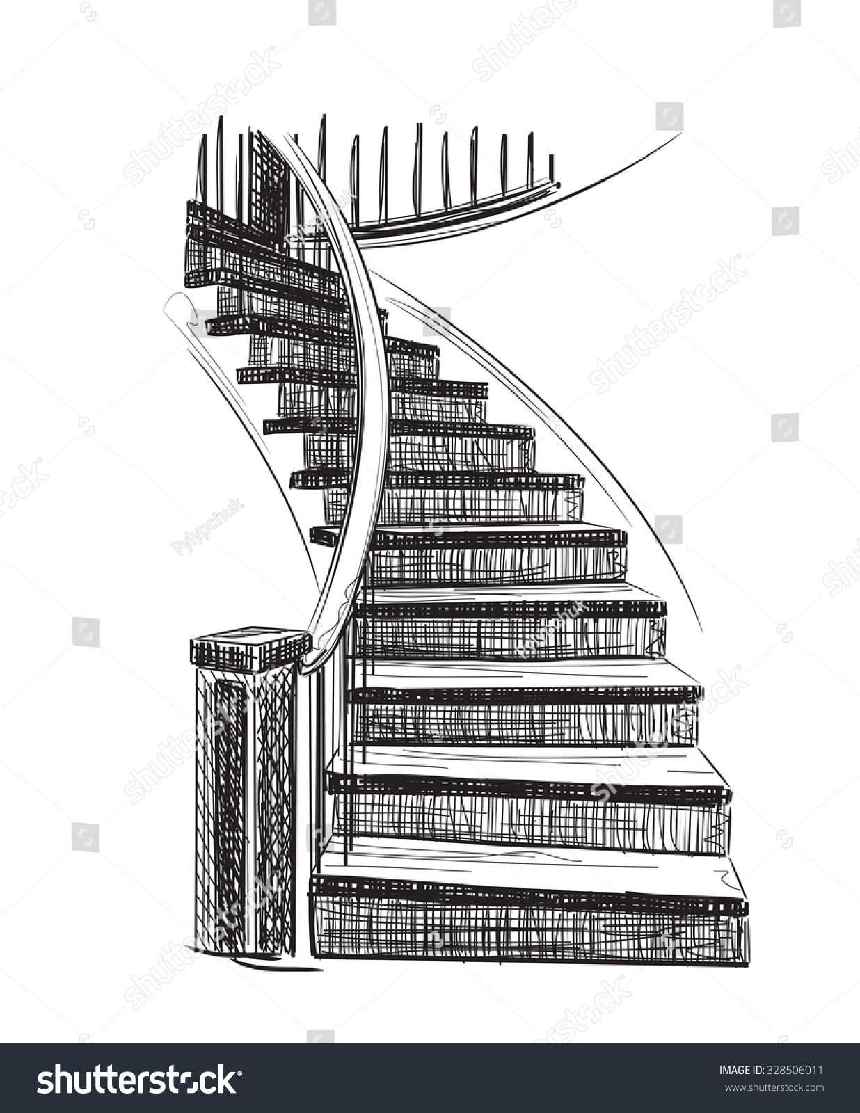 Stairs drawing related keywords amp suggestions stairs drawing - Hand Drawn Staircase Sketch Interior House Stock Vector 328506011