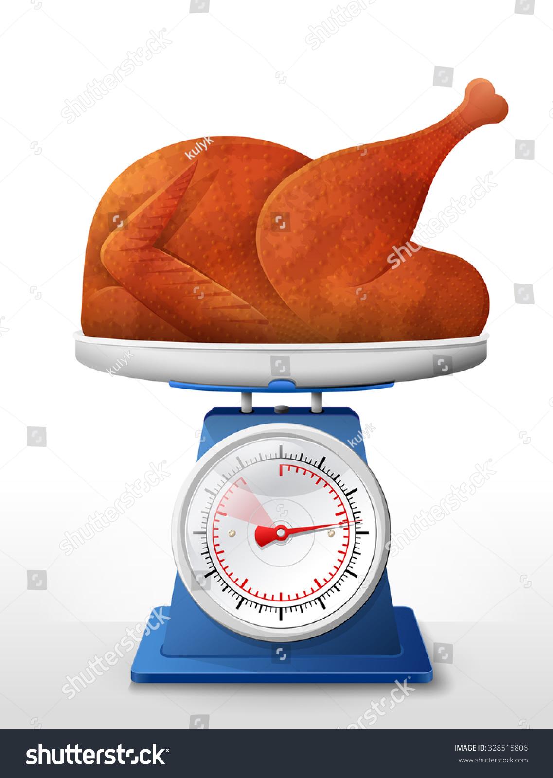 Roast Turkey Chicken On Scale Pan Stock Vector 328515806