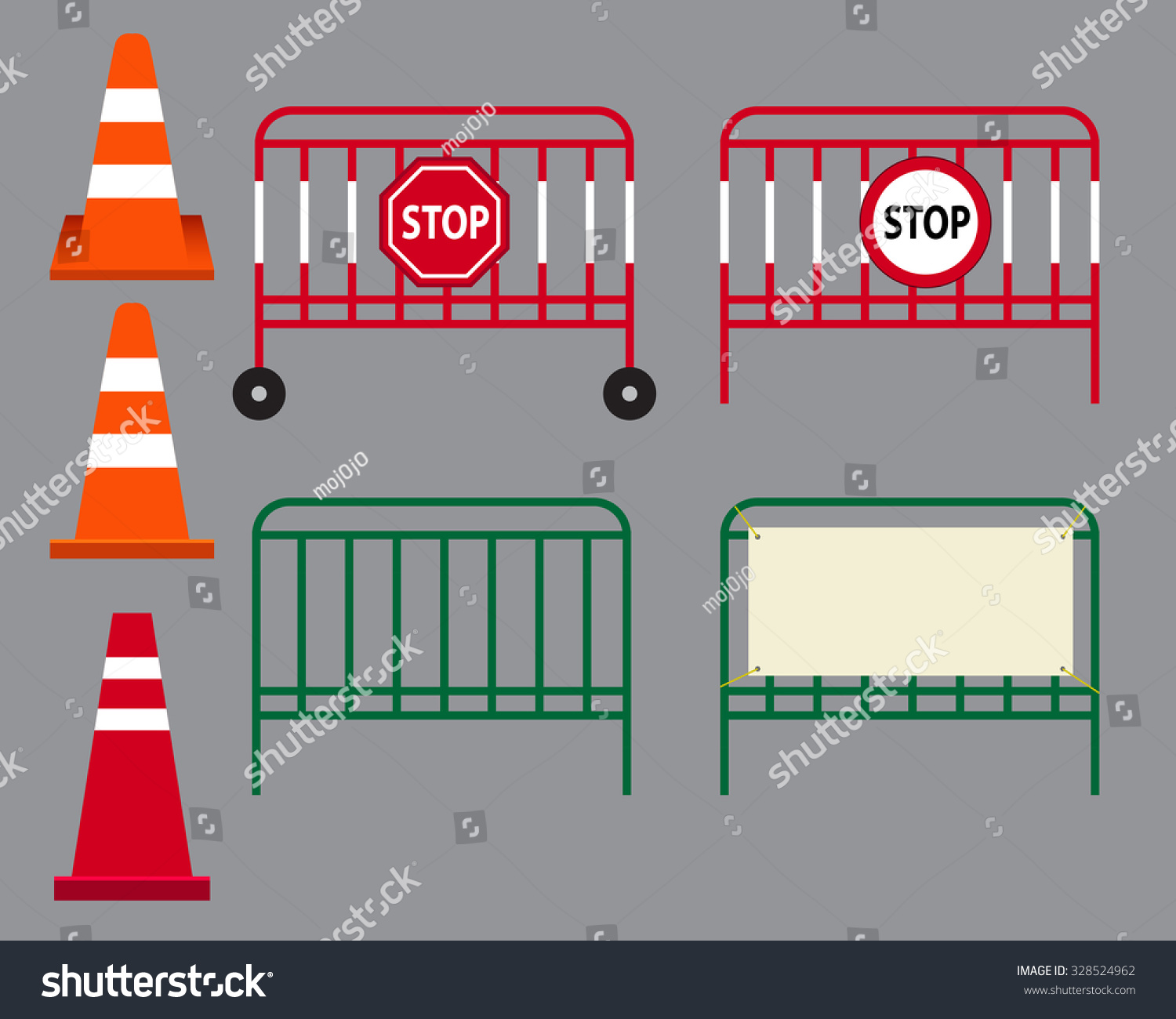 Traffic Cone Stop Sign On Street Stock Vector Royalty Free Fire Engines Diagram And Steel Barrier Isolated Object