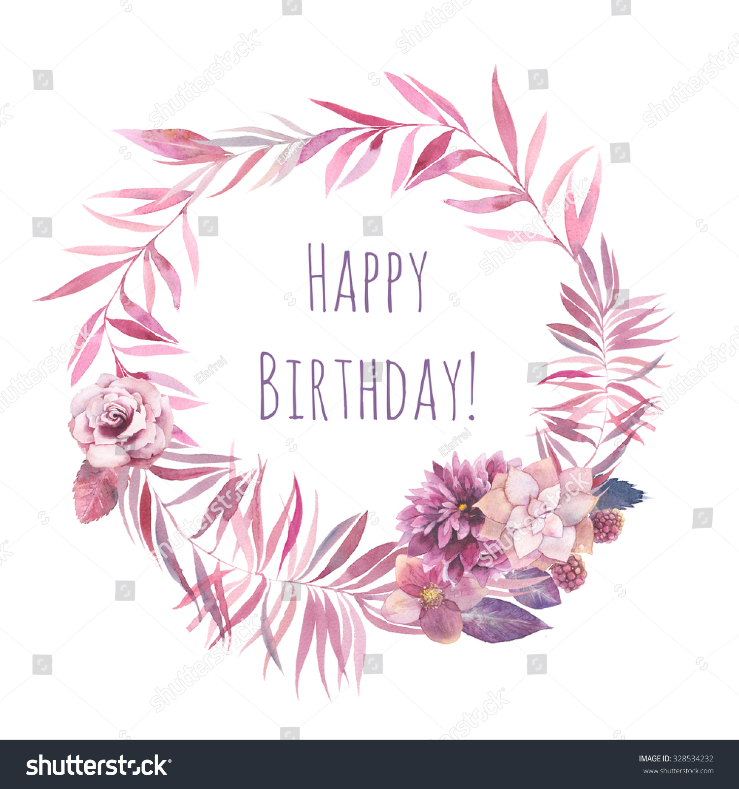 Watercolor happy birthday card floral wreath stock illustration watercolor happy birthday card floral wreath isolated on white background pink palm tree leaves izmirmasajfo