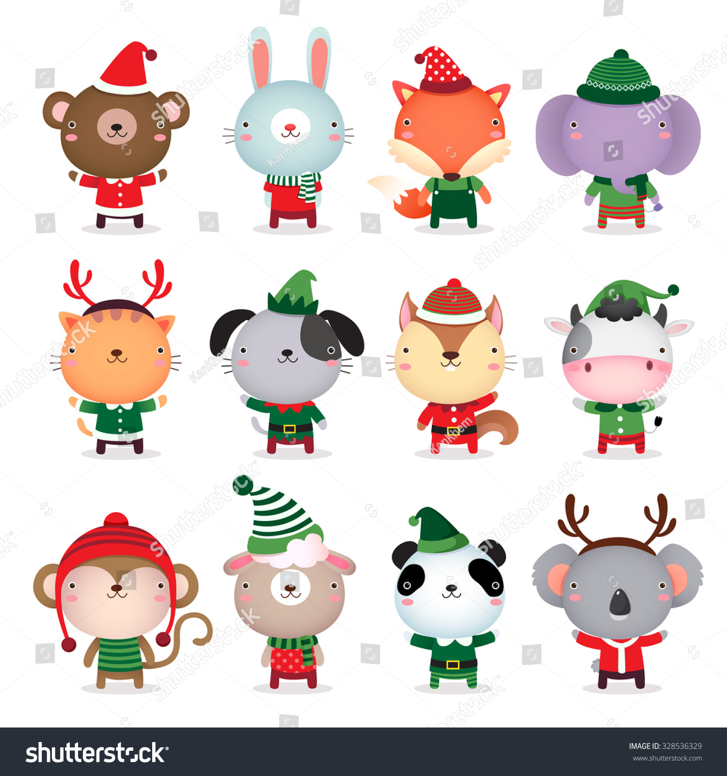Cute Christmas Animals Clipart - photo#17