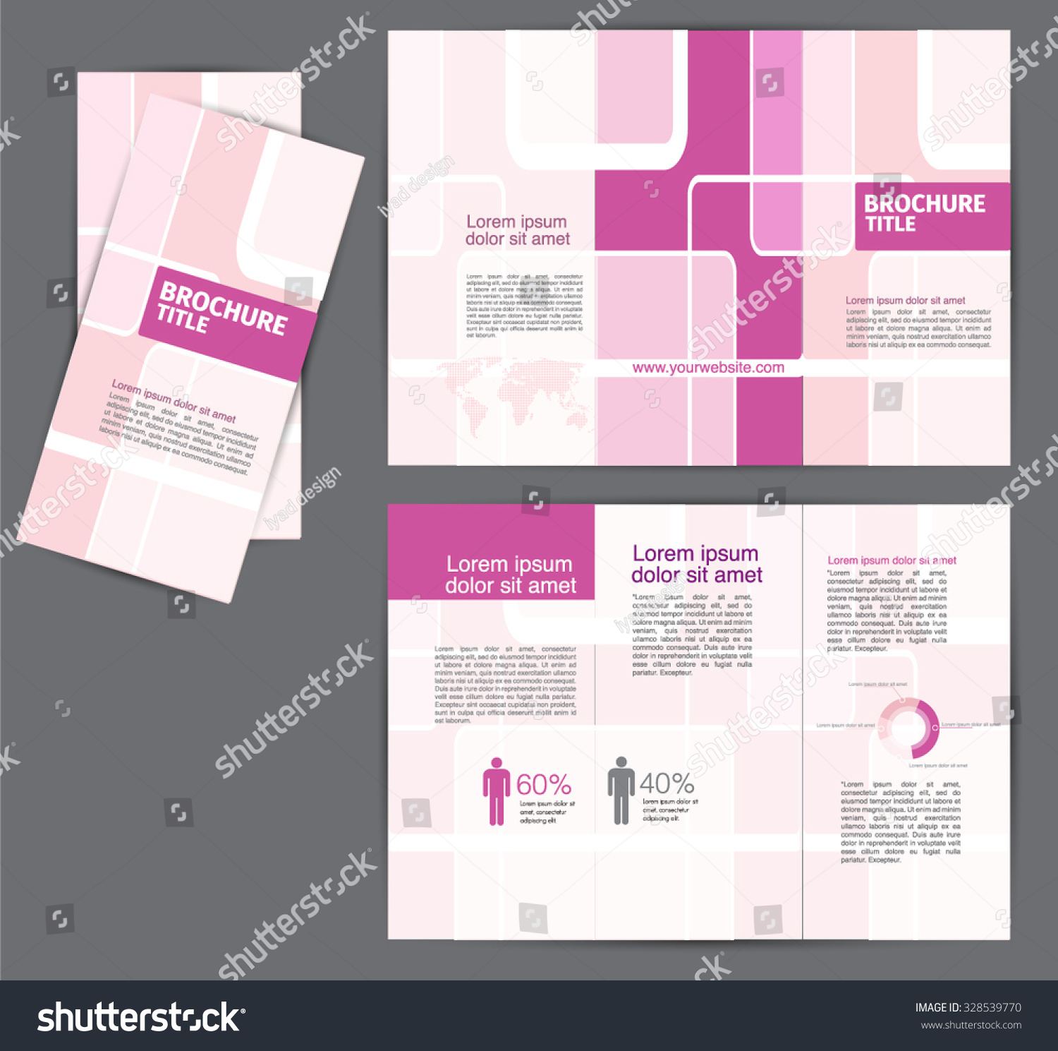 Pink Brochure Template Flyer Design Creative Stock Vector - Mini brochure template
