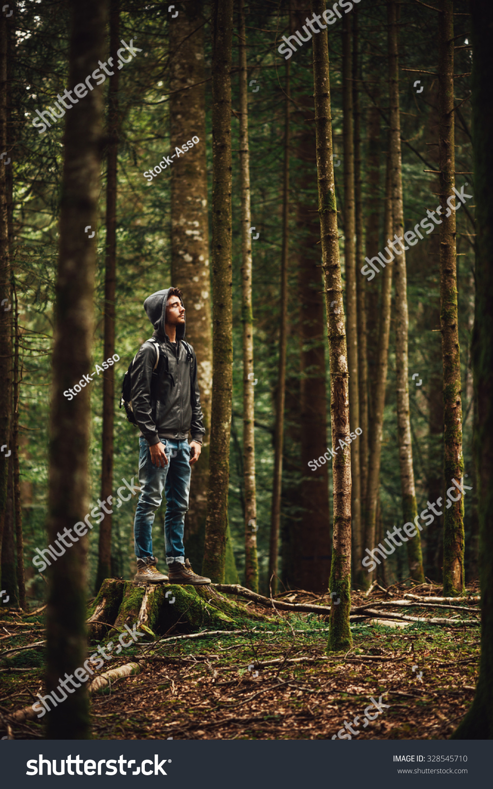 Hooded Young Man Standing Forest Exploring Stock Photo ...