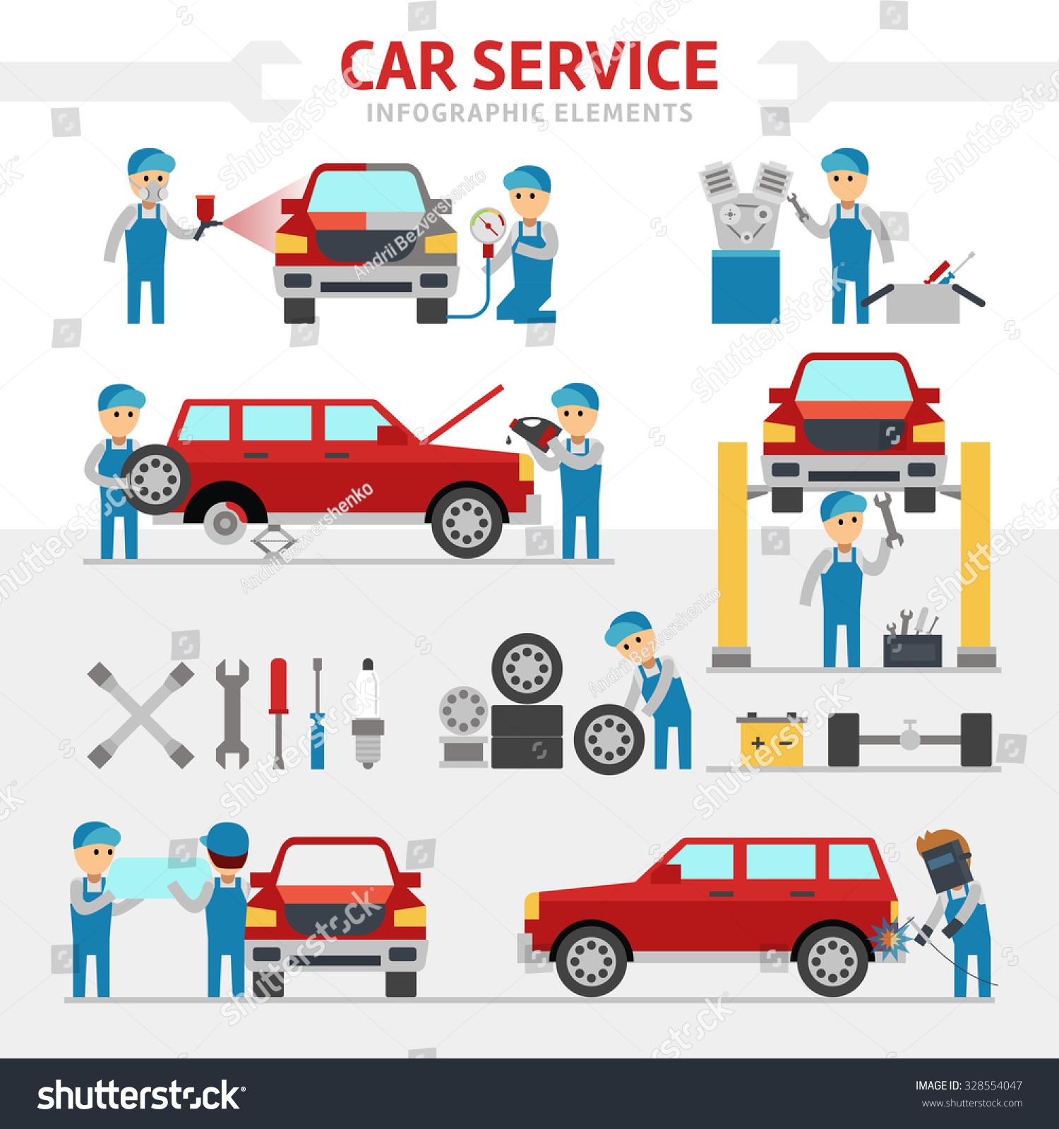 Car repair service flat vector illustration stock vector for Motor vehicle repair license