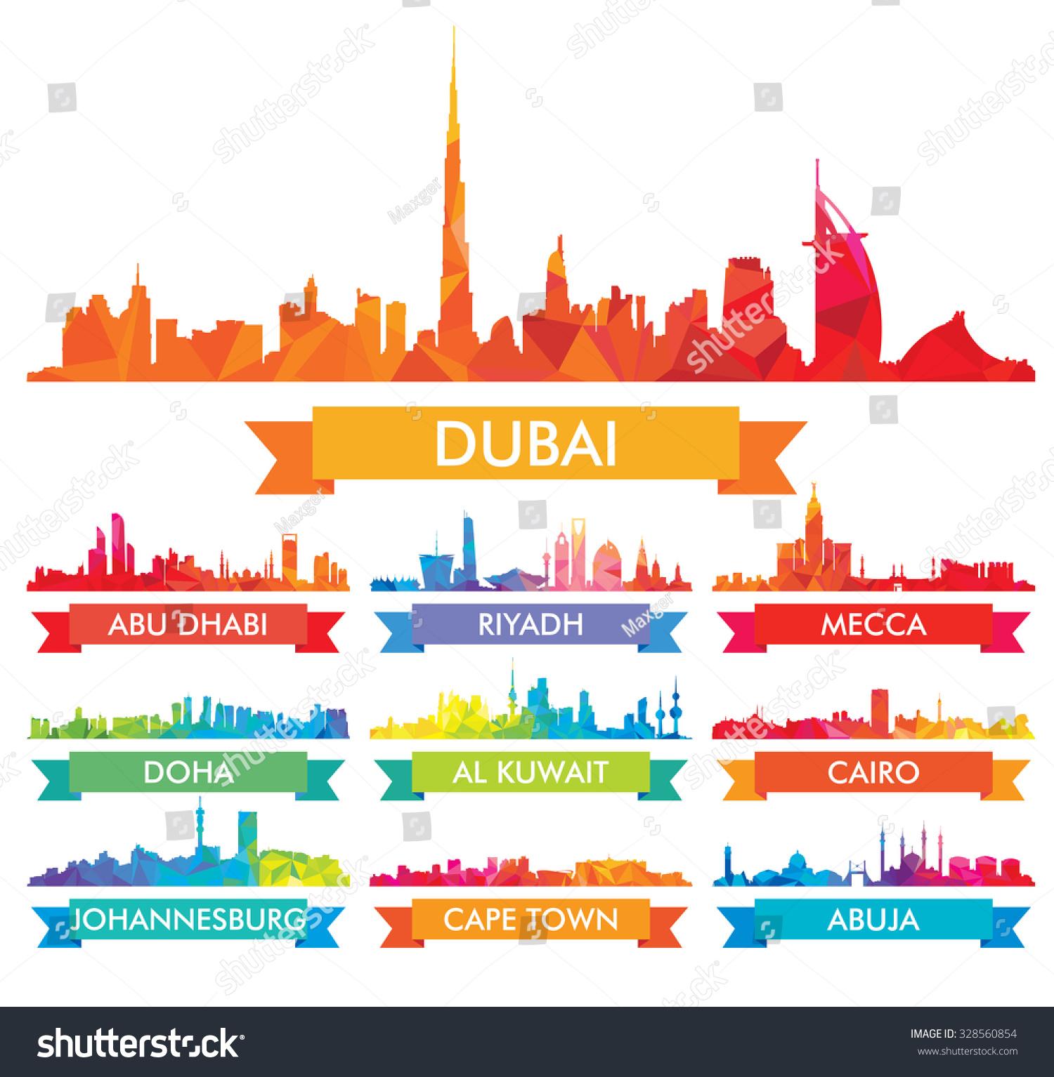 Colorful City Skyline Arabian Peninsula Africa Stock