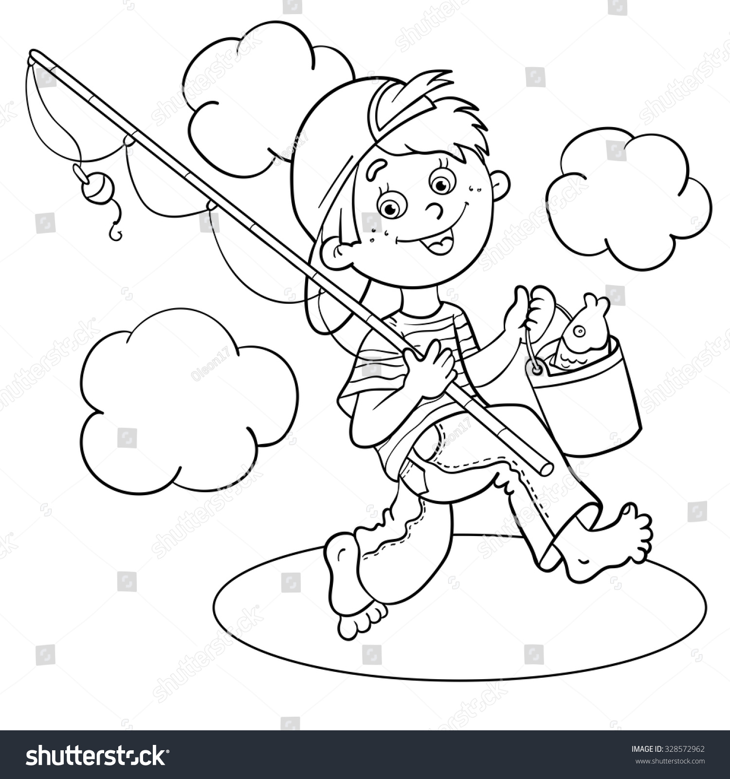 Clip Art Fishing Pole Coloring Page Eassume Com Outline Cartoon Boy Fisherman