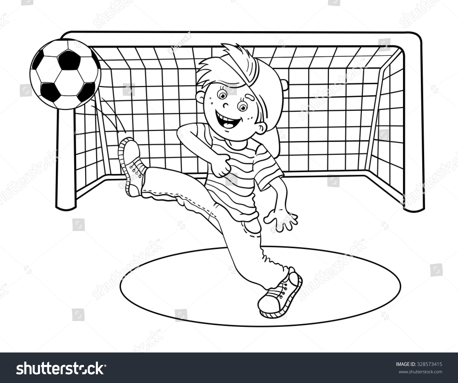 Coloring Page Outline Cartoon Boy Kicking Stock Vector (2018 ...