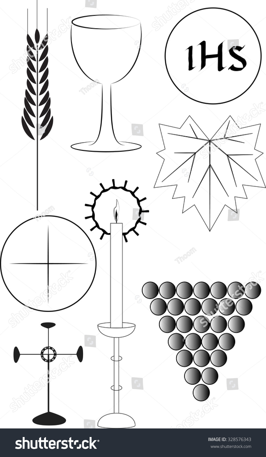 Drawing Lines Between Html Elements : Eucharist symbols graphic elements black and white line
