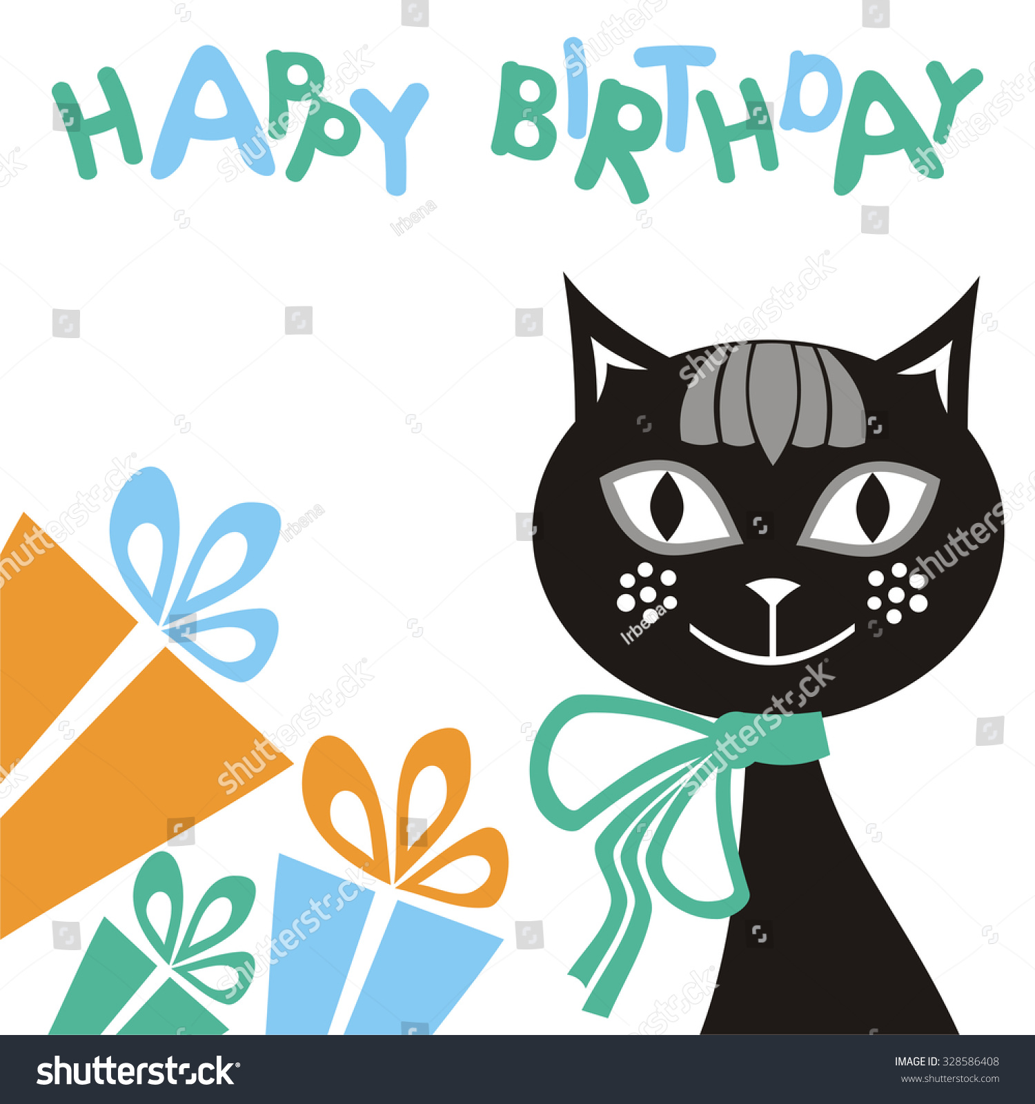 Happy Birthday Greeting Card Beautiful Cat Stock Vector Royalty