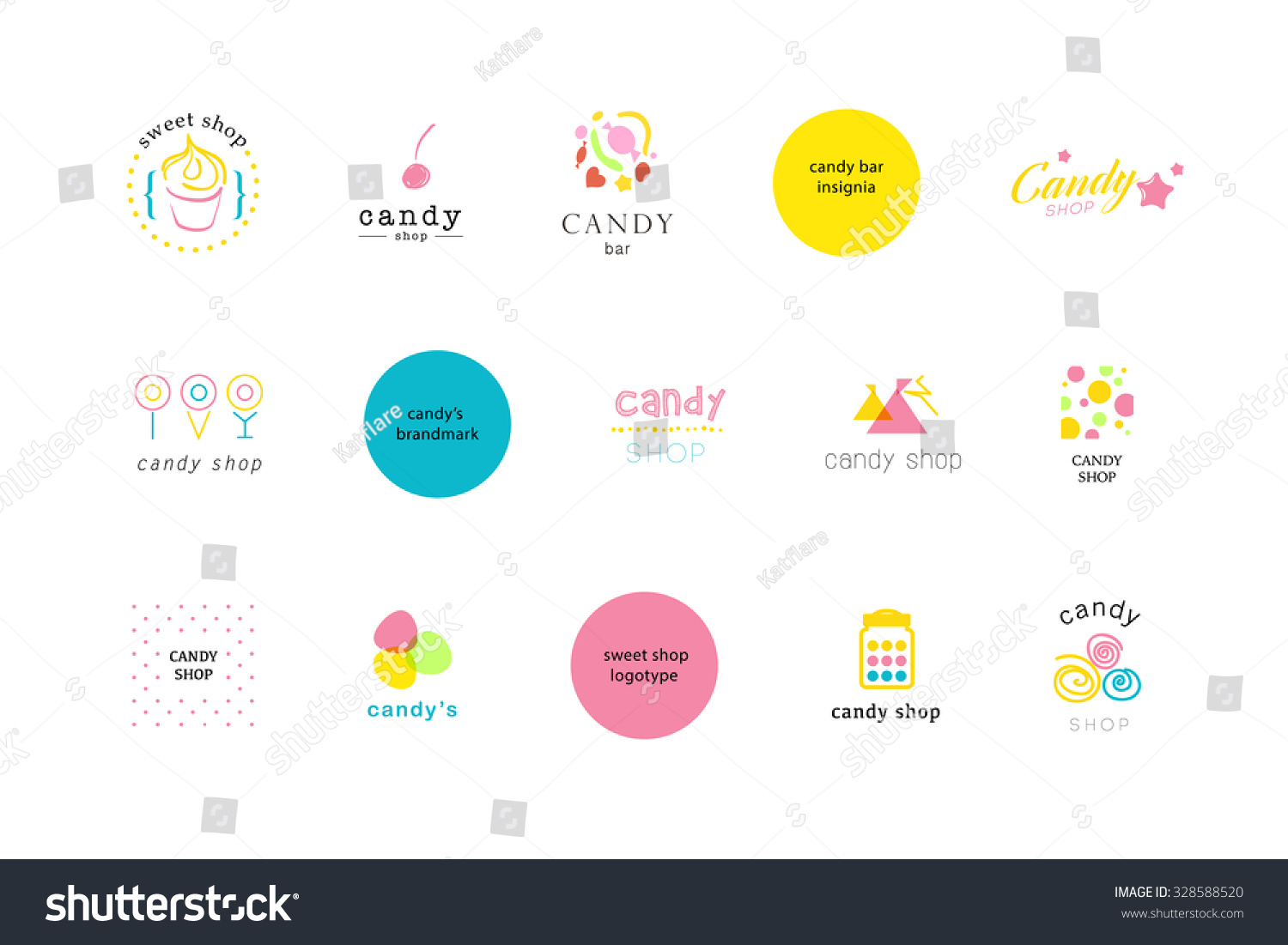 vector flat cute logo collection candy stock vector 328588520