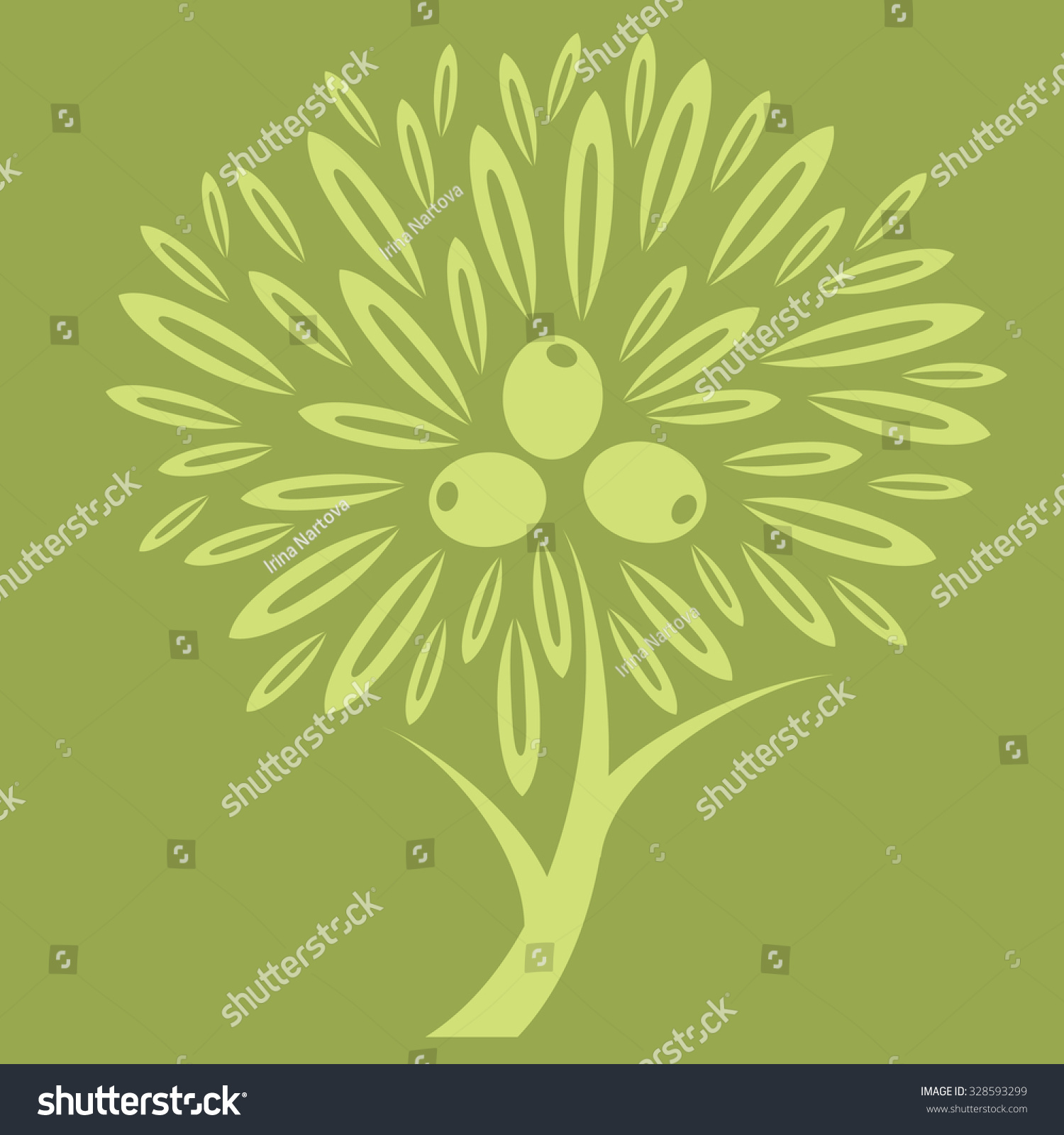 Olive Tree Background Labels Organic Cosmetic Stock Vector 328593299 ...