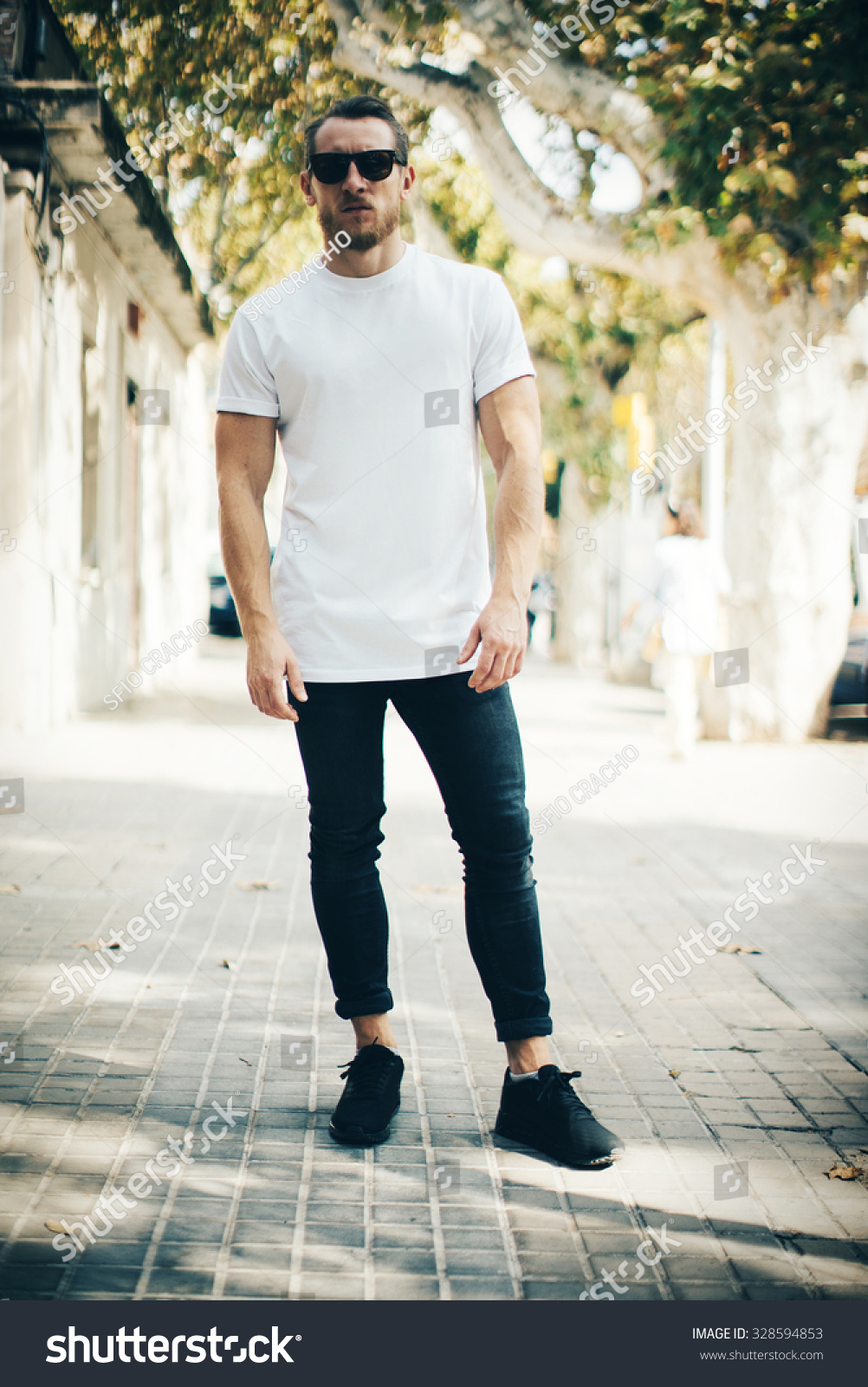 White t shirt and blue jeans - Bearded Guy Wearing White Blank T Shirt And Blue Jeans