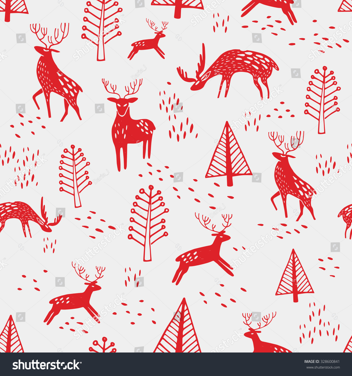 Seamless fir tree scandinavian pattern textile background wrapping - Scandinavian Seamless Pattern With Red Deer Nordic Style Textiles Christmas Wrapping Paper