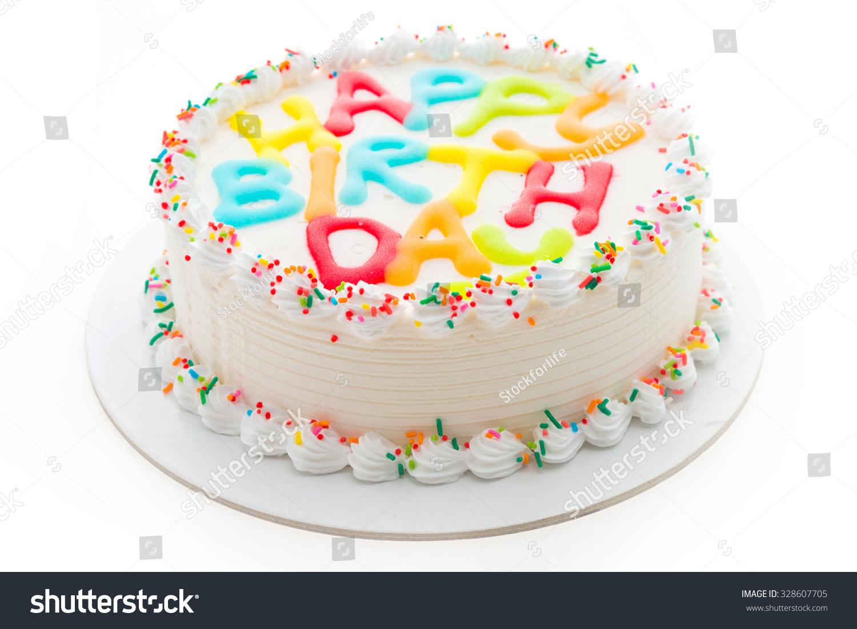 Happy Birthday Cake Isolated On White Stock Photo Edit Now