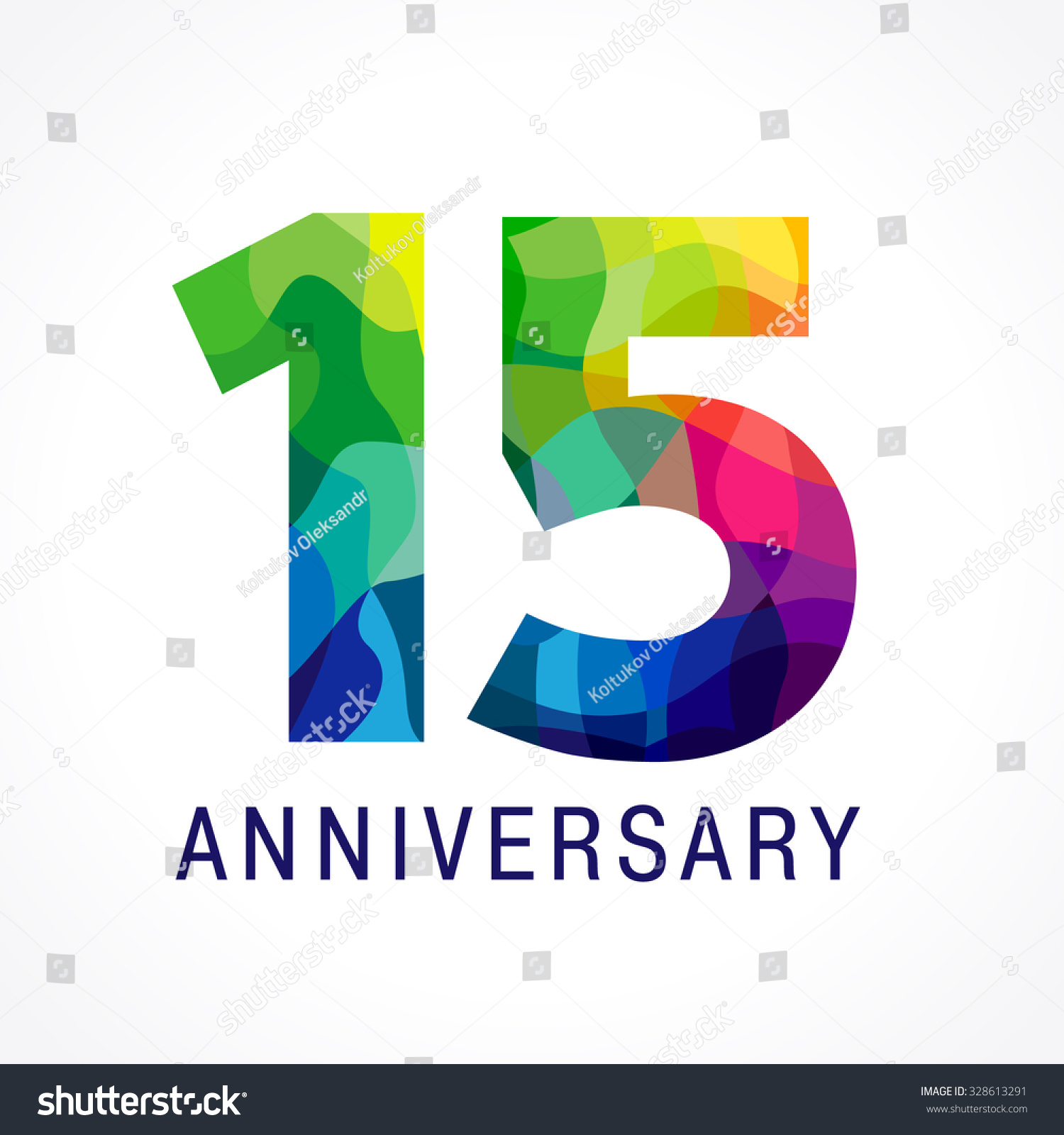 Bright faceted logotype 15th birthday 15 stock vector 328613291 shutterstock - Color of th anniversary ...