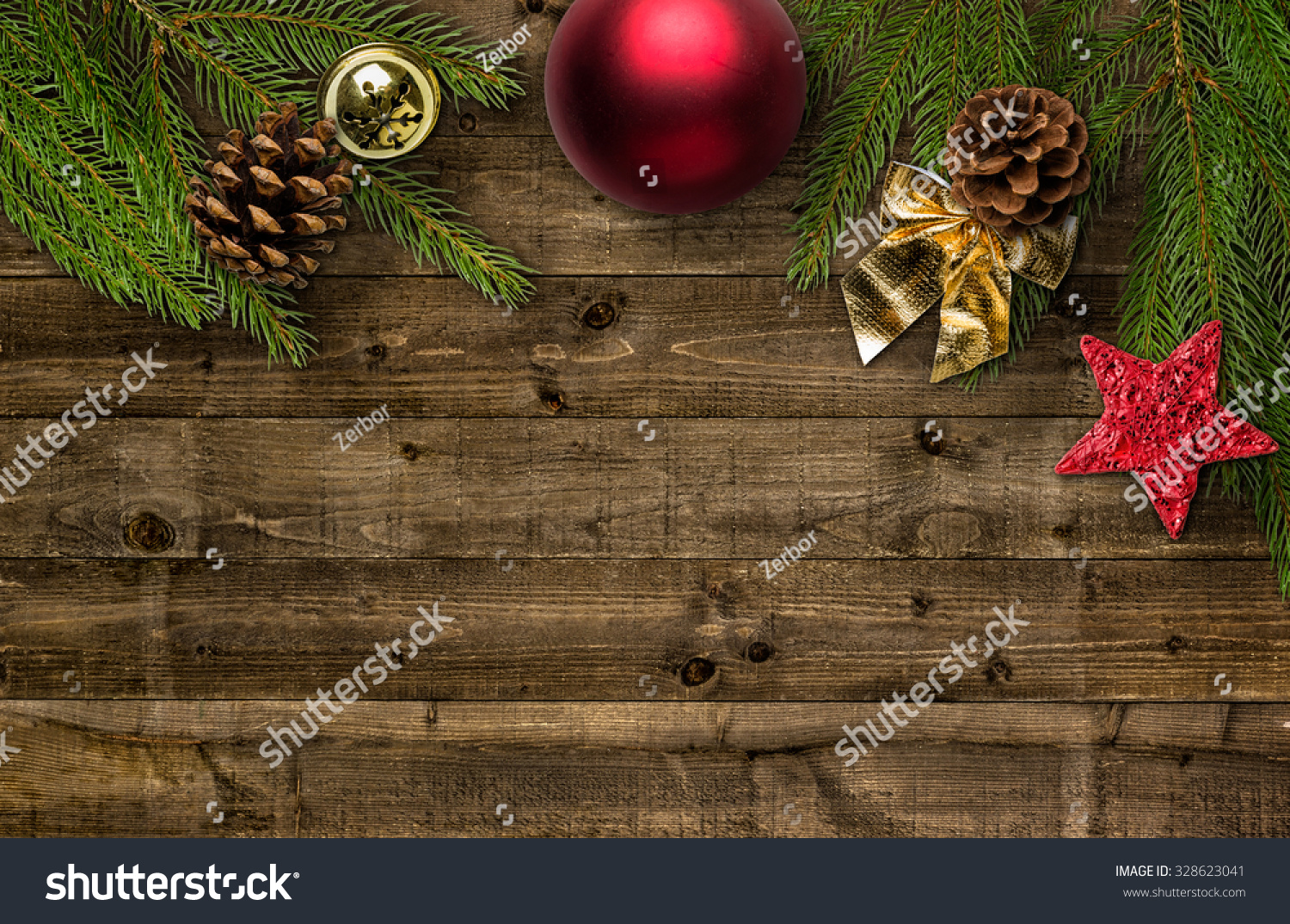 Christmas Decorations Copy Space Stock Photo 328623041