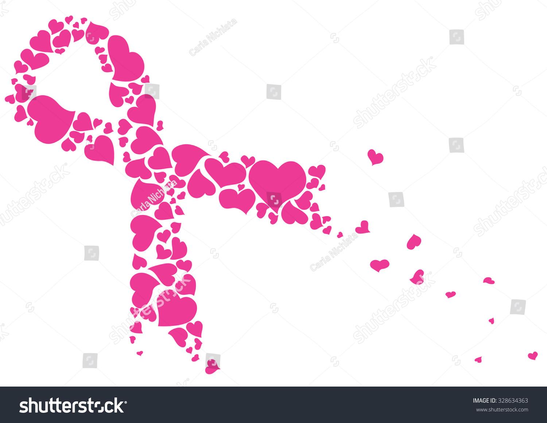 Pink ribbon made hearts vector breast stock vector 328634363 pink ribbon made of hearts vector breast cancer ribbon awareness biocorpaavc