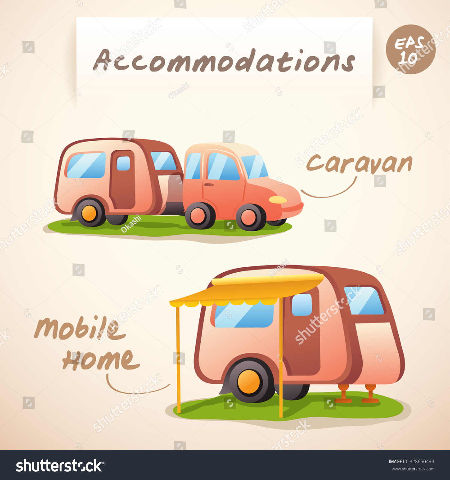 Accommodations Caravan And Mobile Home Vector Illustration