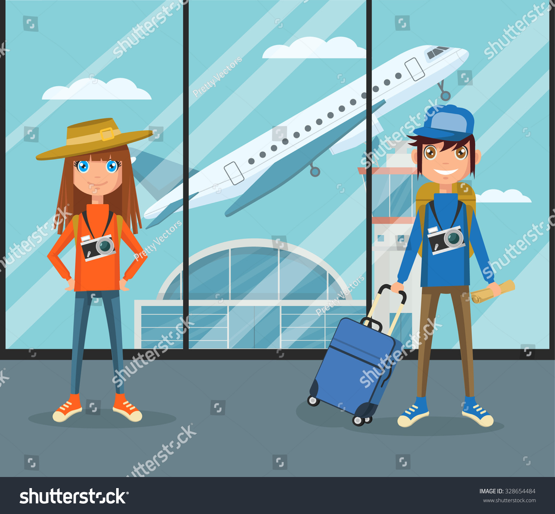 People Airport Termina... Airport Cartoon Images