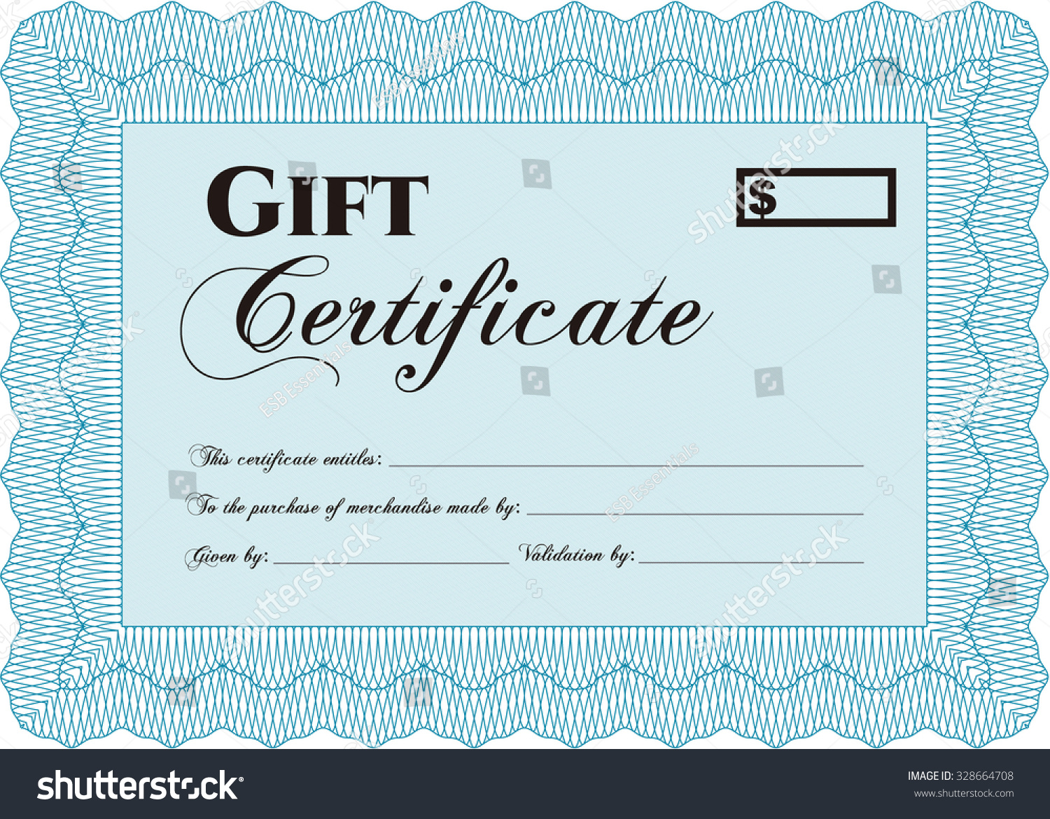 Retro Gift Certificate Template Customizable Easy Stock Vector