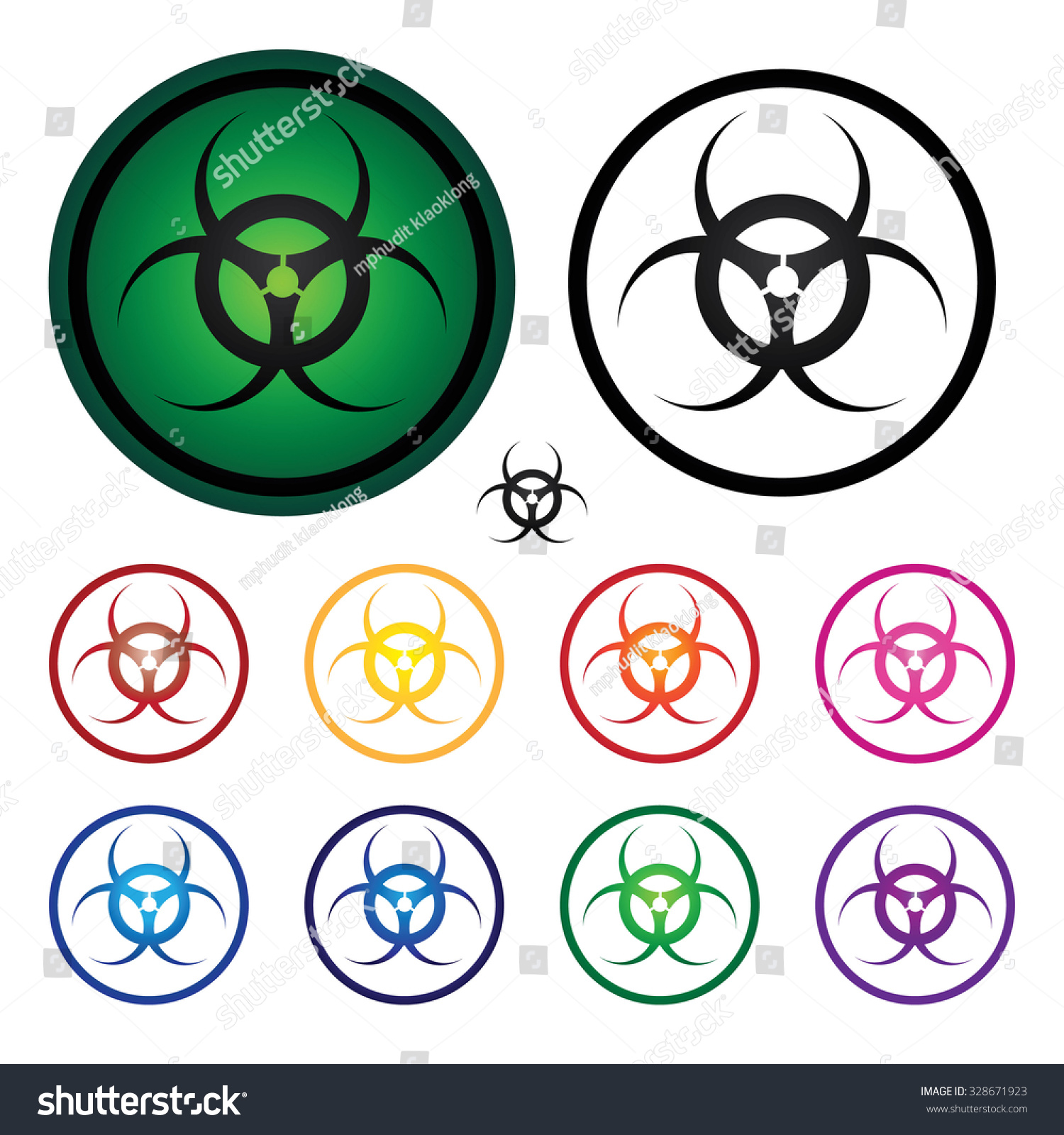 Danger Biological Hazard Symbol Set 1 Stock Illustration 328671923