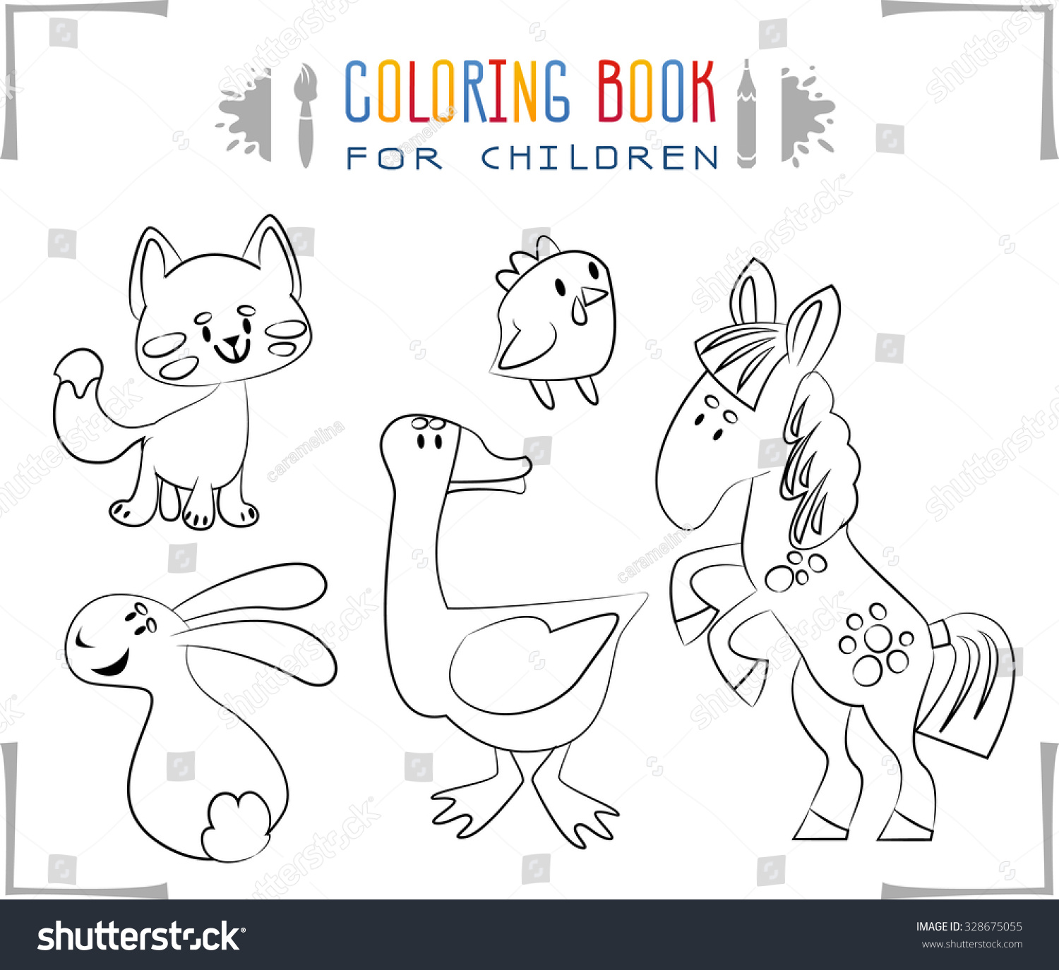 Coloring Book Cartoon Farm Animals Vector Stock Photo (Photo, Vector ...