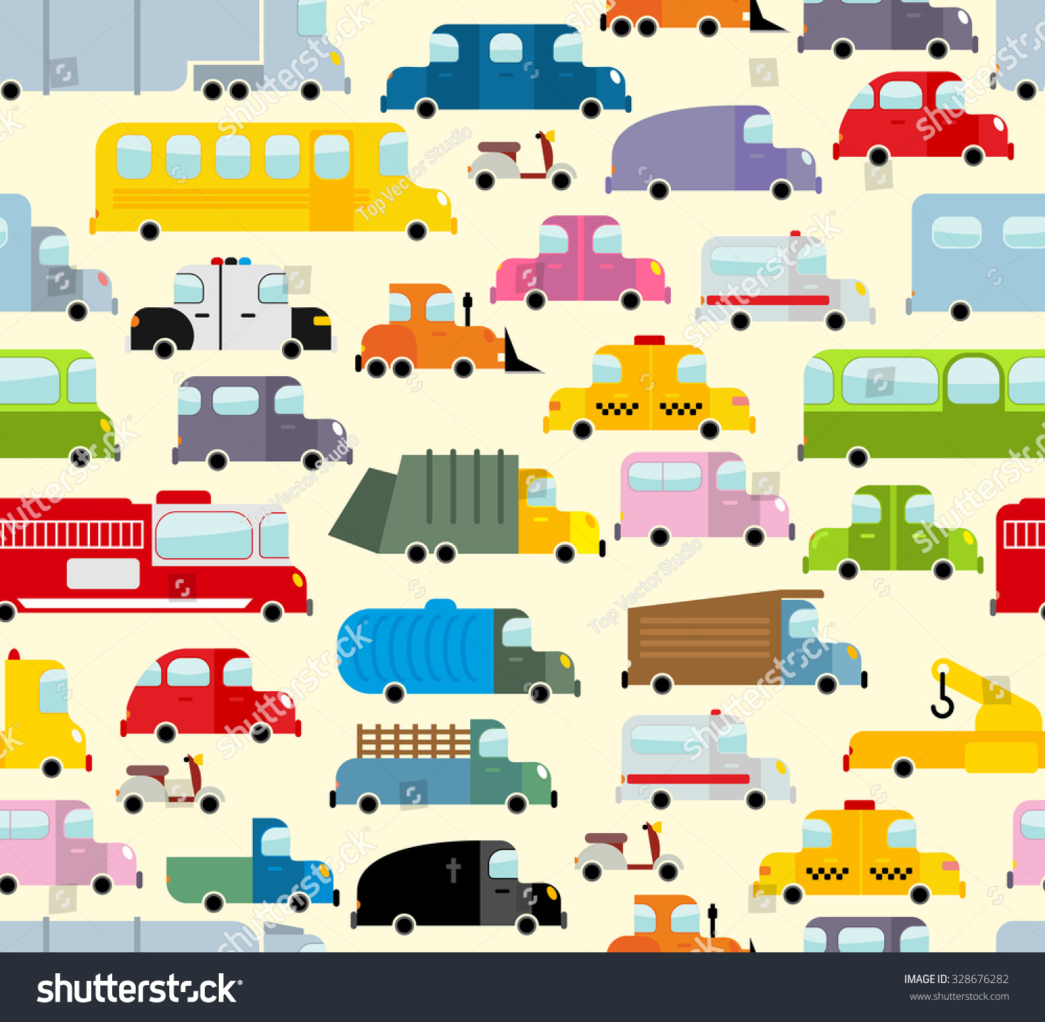 Cartoon car pattern city traffic jam stock vector for Cars autootjes