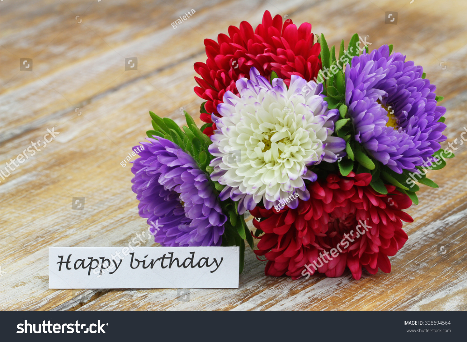 Happy birthday card colorful aster flower stock photo edit now happy birthday card with colorful aster flower bouquet on rustic wooden surface izmirmasajfo