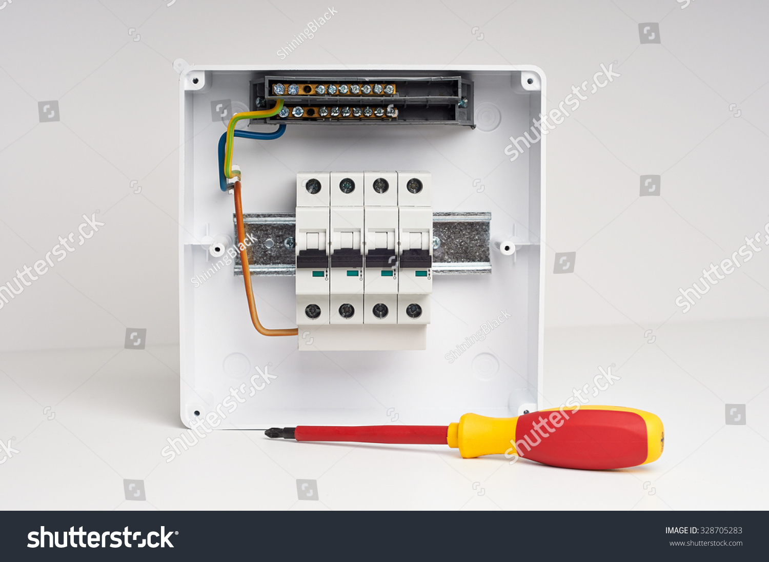 Fusebox Four Automatic Fuses Wires Electricity Stock Photo Edit Now Home Wiring Distribution Box With And Installation Electrical Cabinet