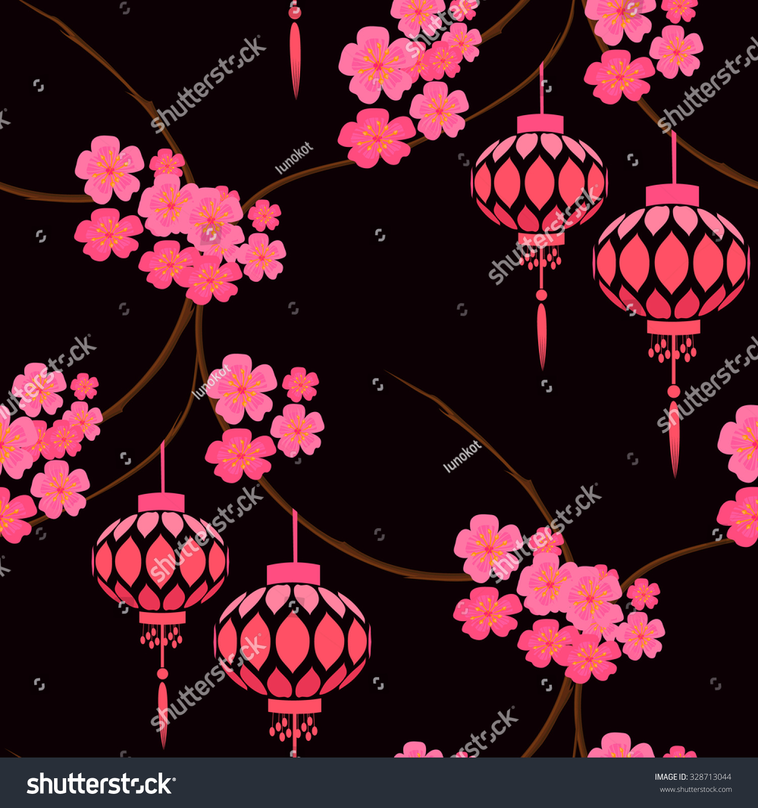 Japanese Stylized Pattern Pink Lanterns Sakura Stock Vector Royalty