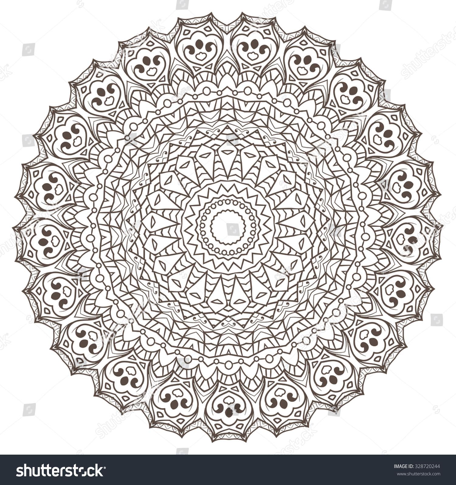 Ethnic Fractal Mandala Vector Meditation Looks Stock Vector (Royalty ...