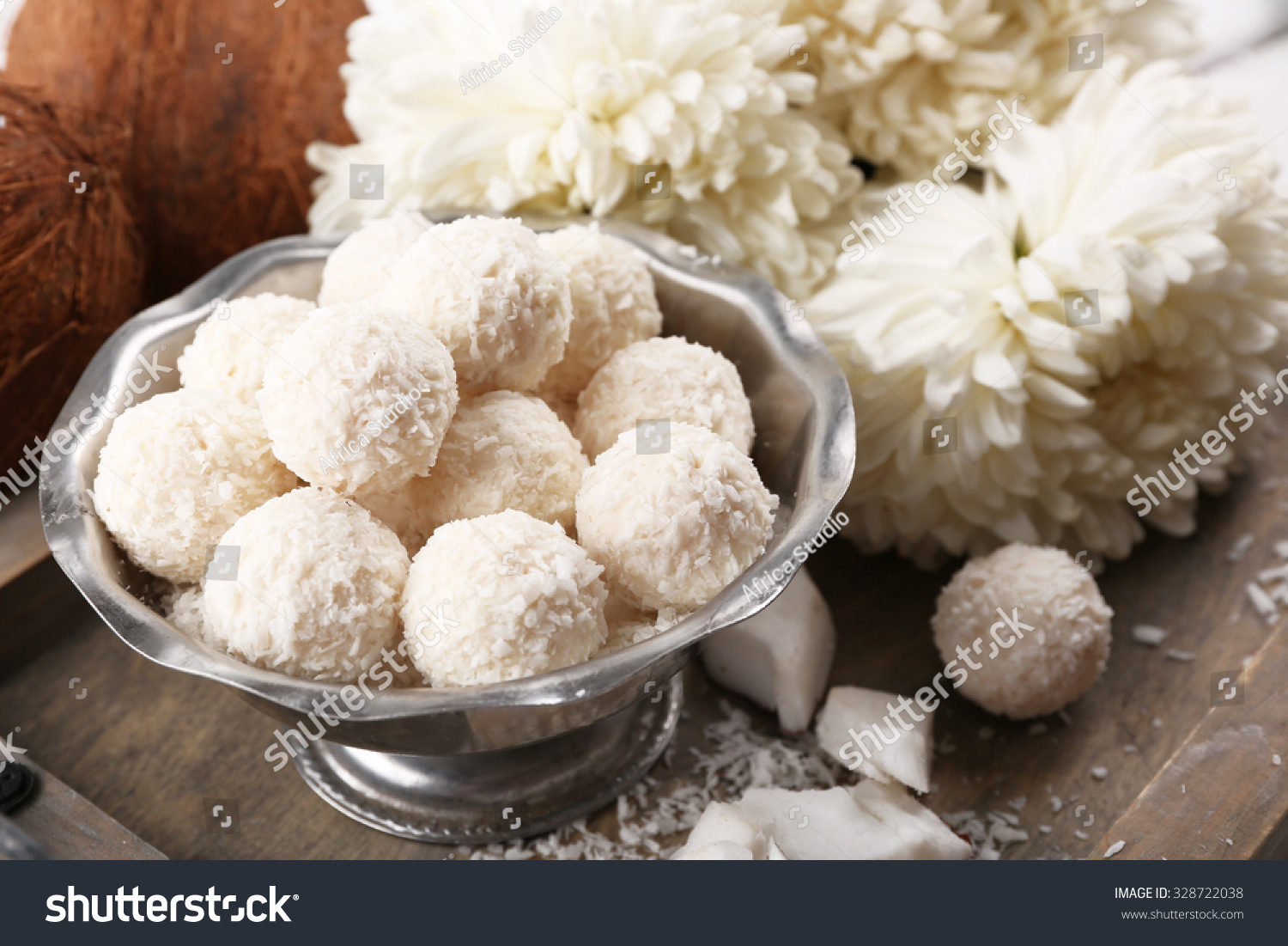 Homemade Sweets Coconut Flakes Fresh Coconut Stock Photo