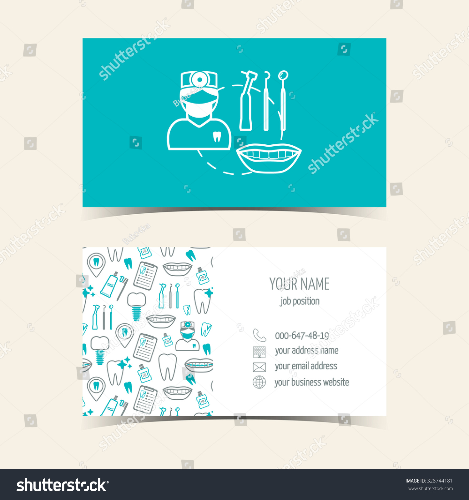 business cards dental clinic promotional products stock vector