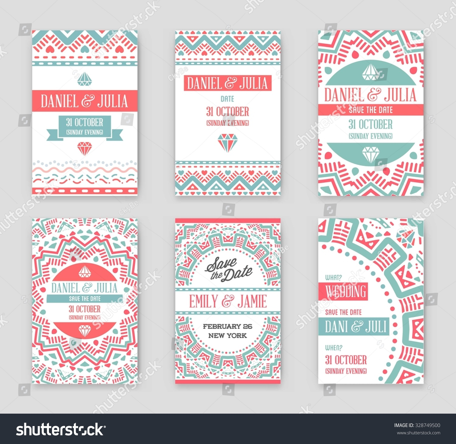 Set Vector Design Awesome Wedding Invitation Stock Vector (Royalty ...