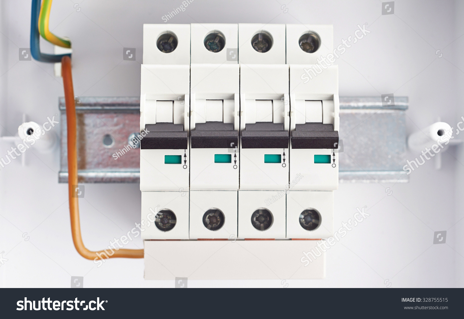 Automatic Fuses On Din Rail Fusebox Stock Photo Edit Now 328755515 Fuse Box In