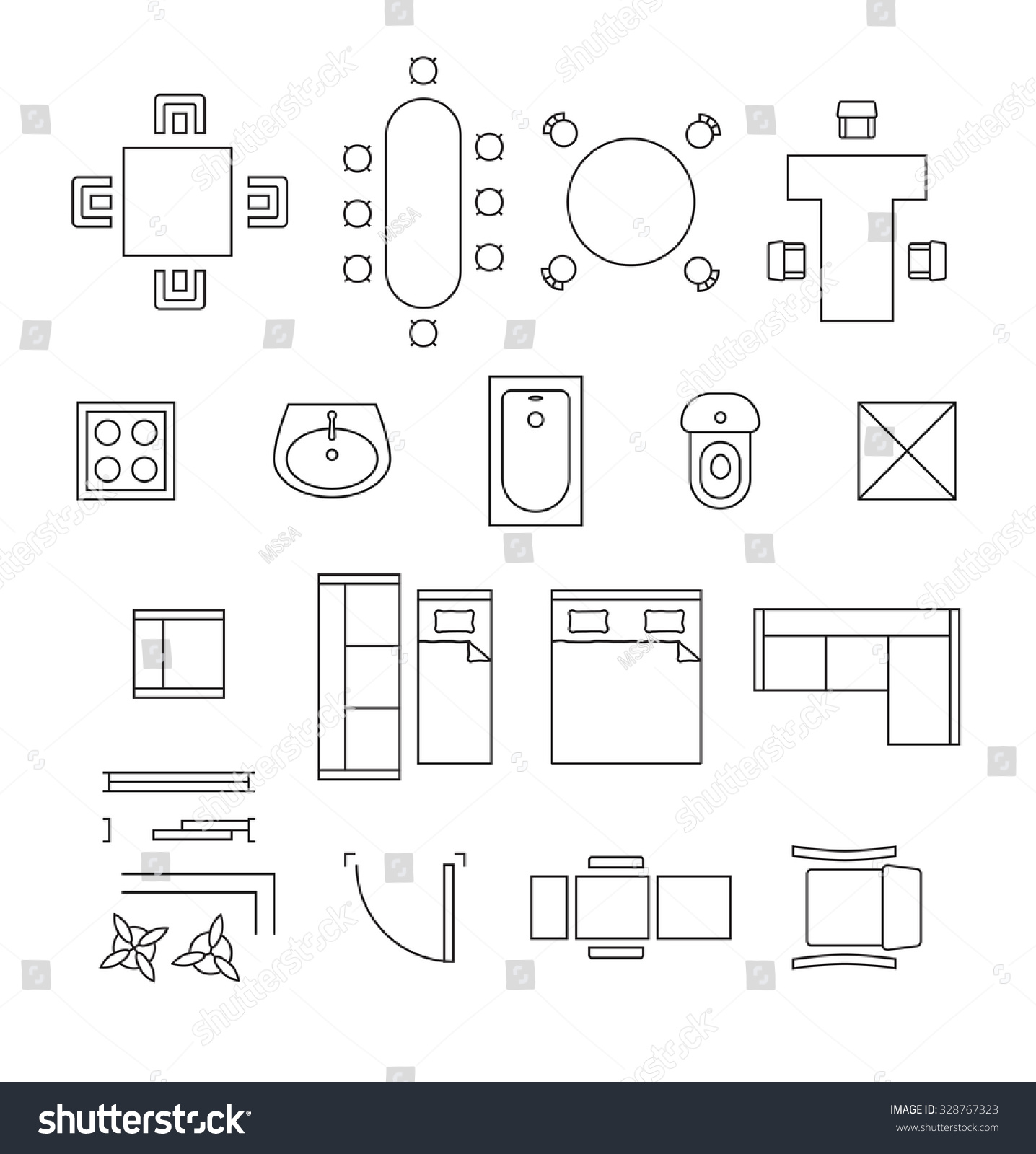 Furniture Linear Vector Symbols Floor Plan Stock Vector