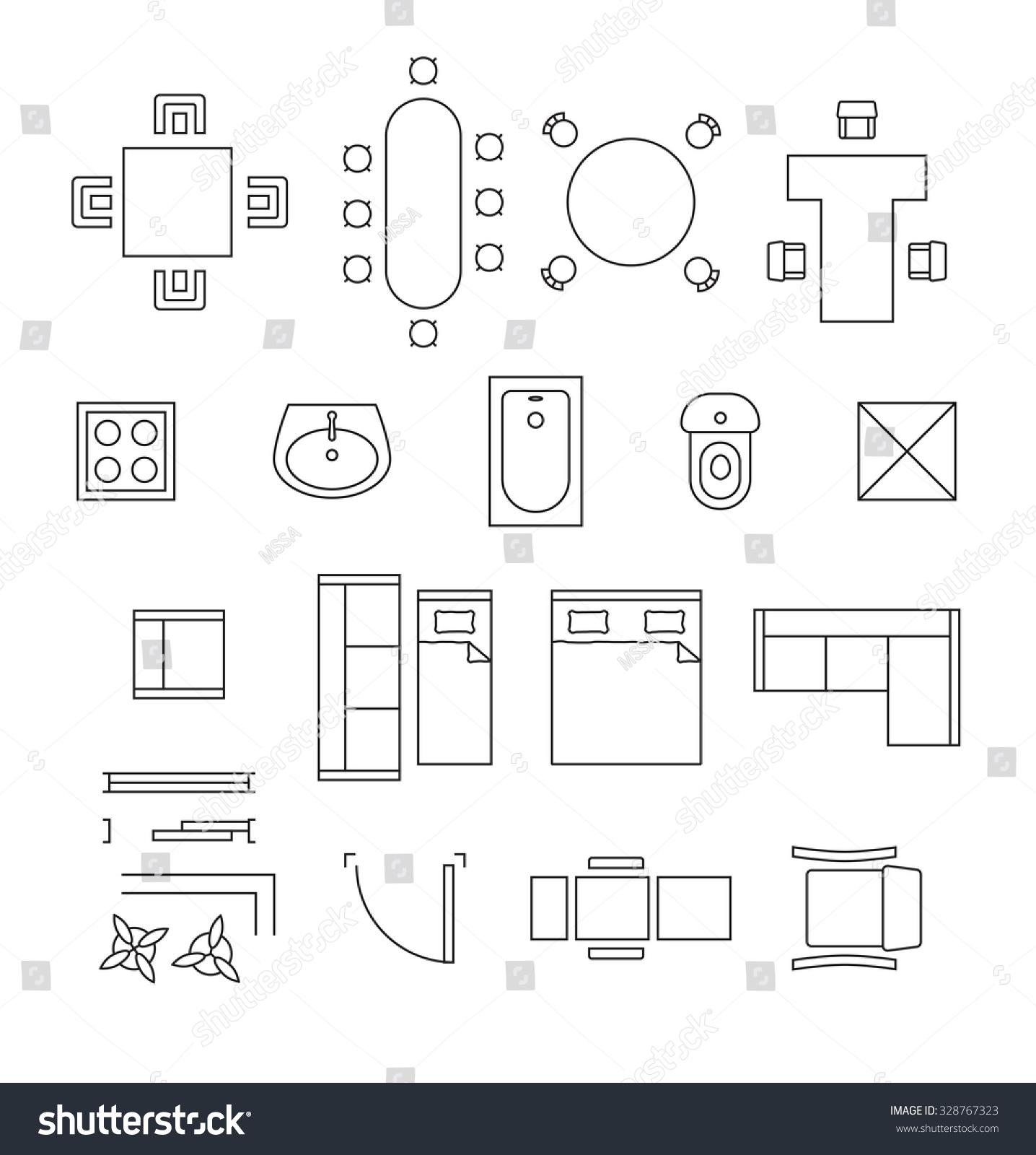 Furniture Linear Vector Symbols Floor Plan Stock Vector 328767323