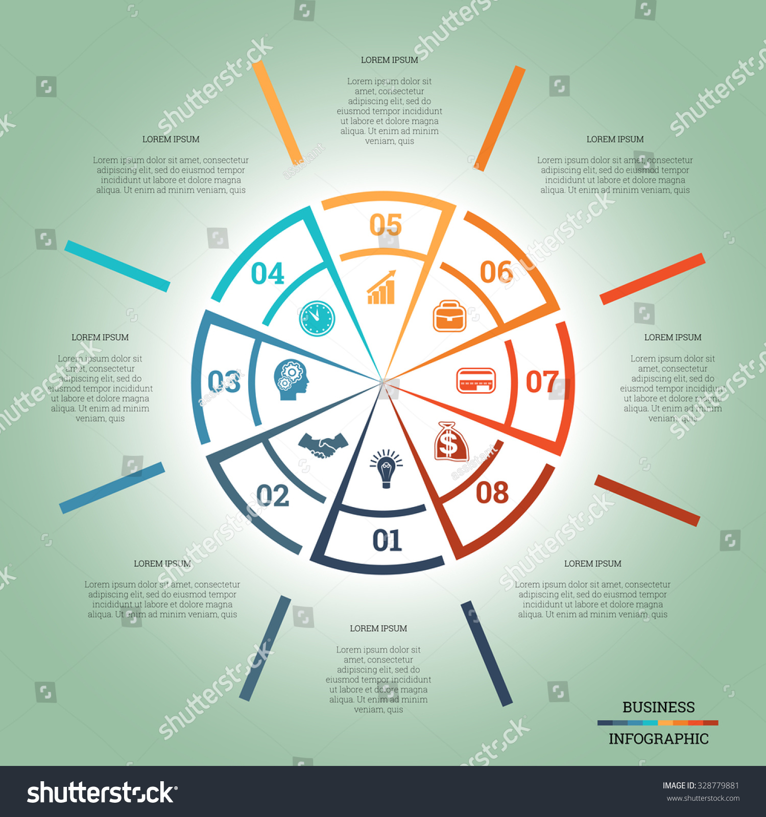 Infographic pie chart template colourful circle stock vector infographic pie chart template colourful circle from lines with text areas on eight positions nvjuhfo Choice Image
