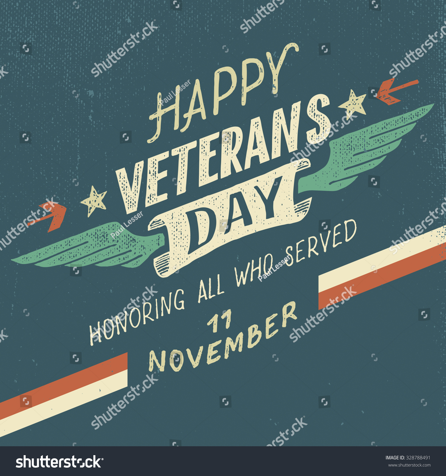 Happy veterans day greeting card handdrawn stock vector royalty happy veterans day greeting card with hand drawn typographic design in vintage style m4hsunfo