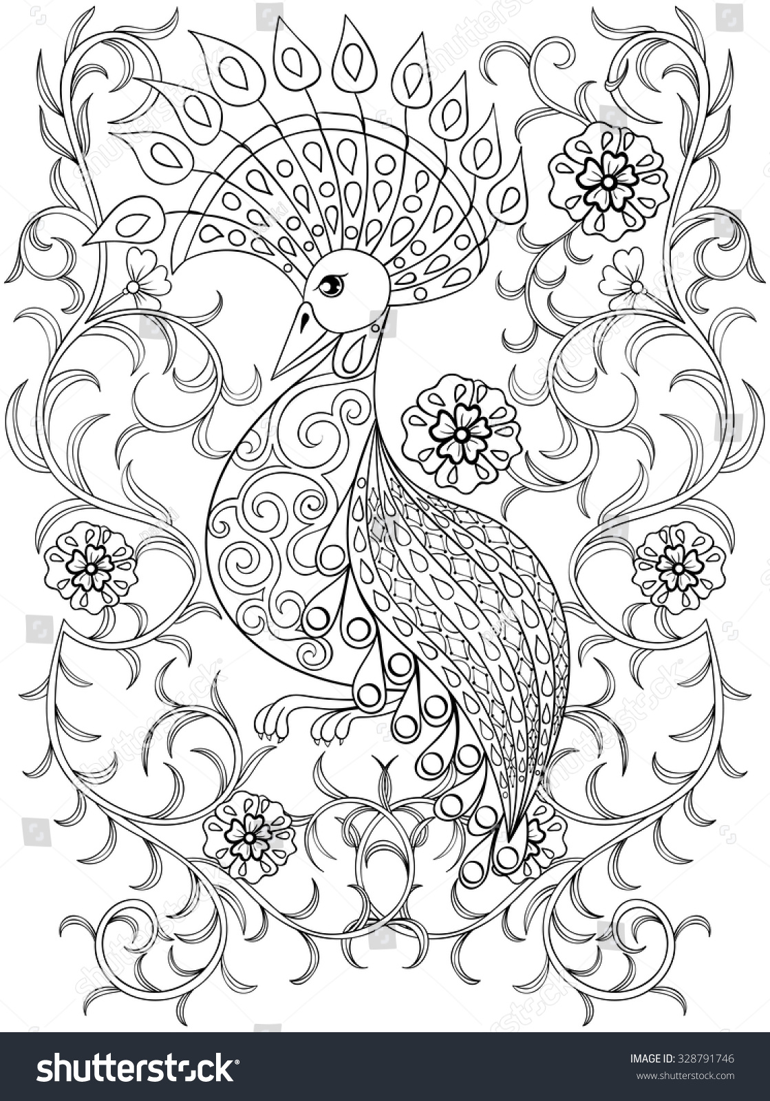 stock vector coloring page with bird in flowers zentangle illustartion bird for adult coloring books or