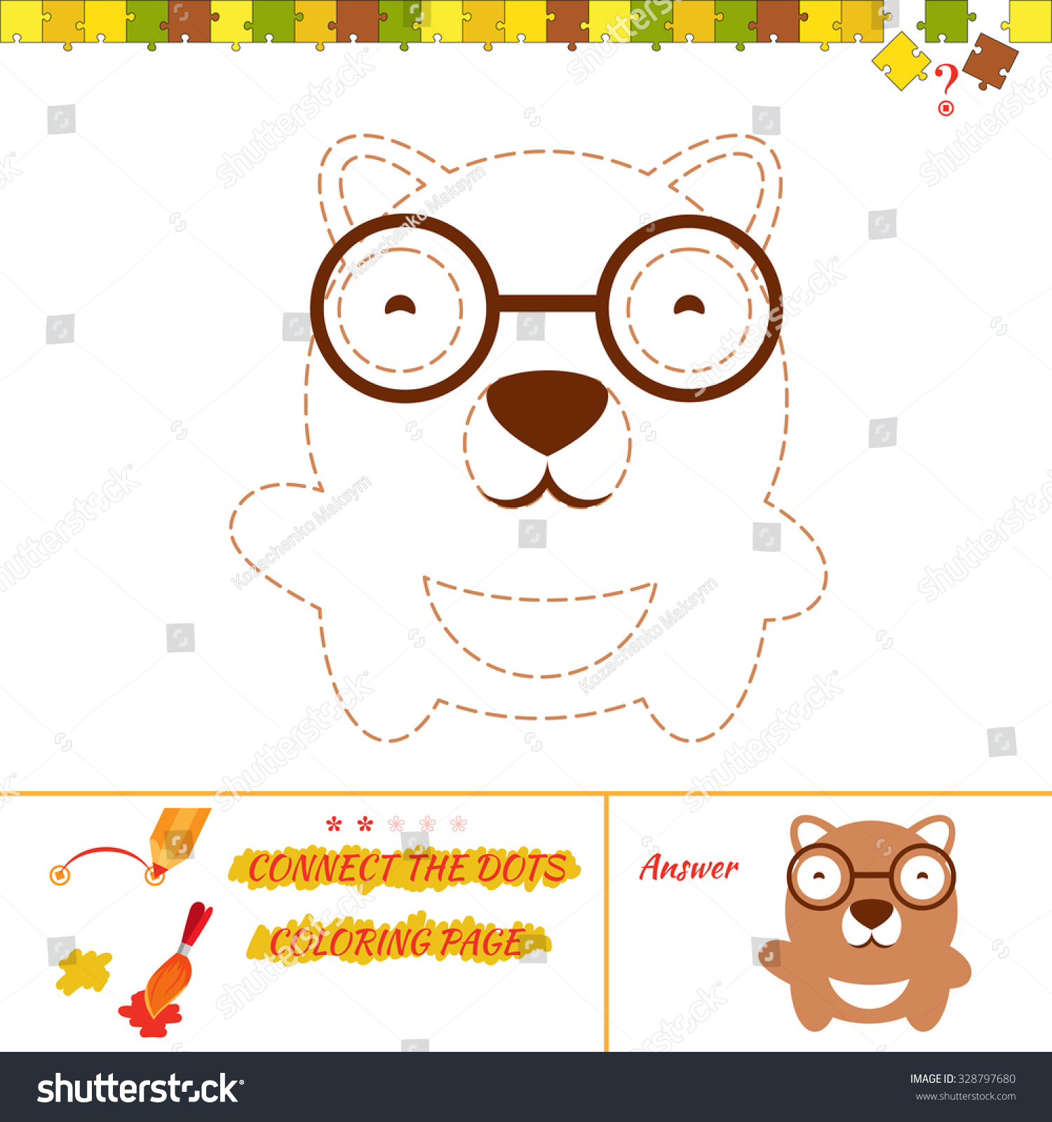 puzzle connect dots picture coloring page stock illustration