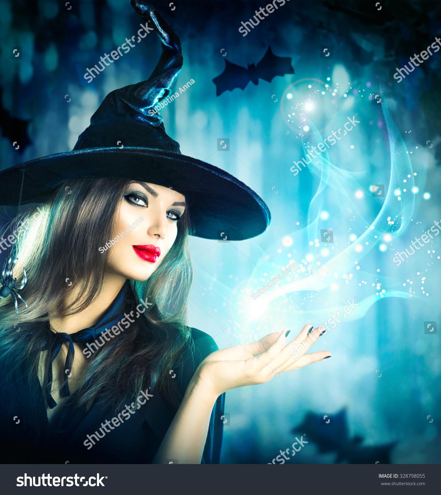 Halloween Witch Magic Dark Forest Beautiful Stock Photo