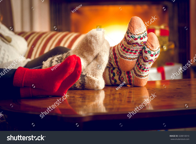 Closeup Photo Family Warming Feet Fireplace Stock Photo 328810010 ...