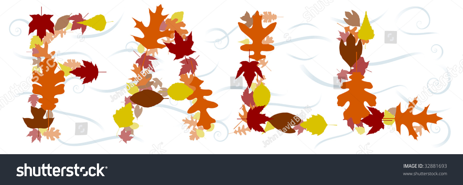 word fall composed vector leaves swirly stock vector royalty free