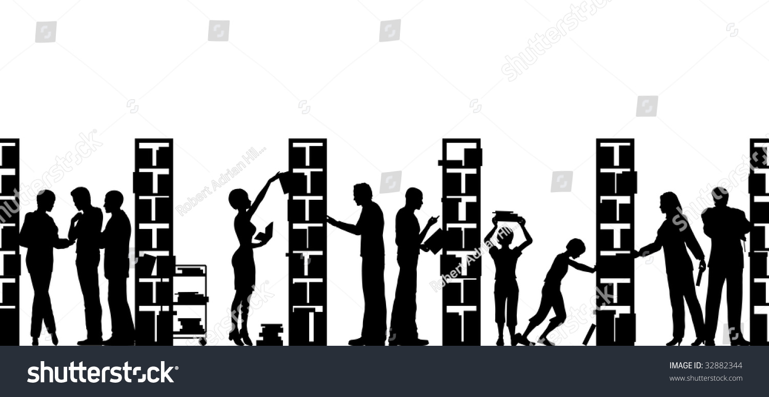 Silhouette People Library Stock Illustration 32882344